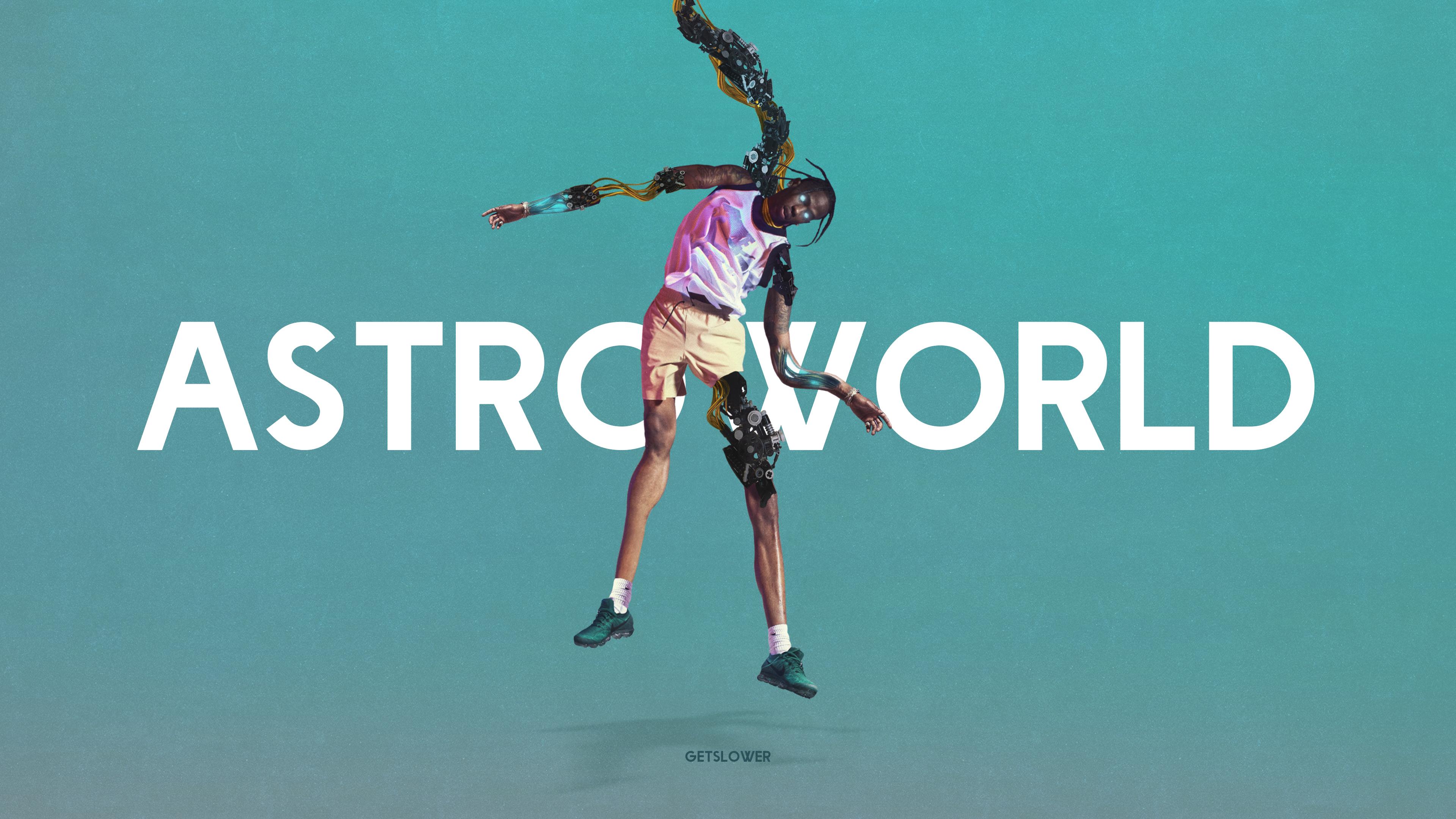 General 3840x2160 Travis Scott Kanye West digital art turquoise