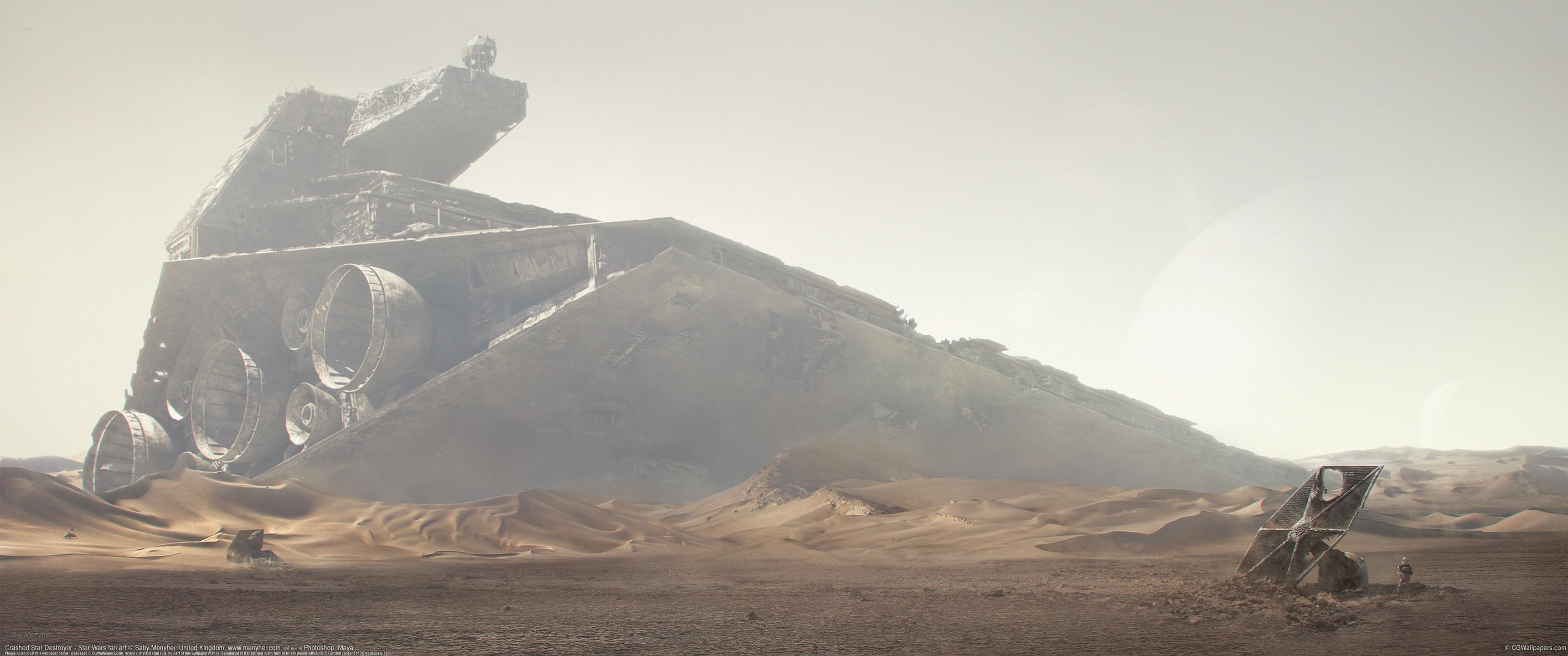 General 3440x1440 Star Wars Star Destroyer landscape artwork desert shipwreck