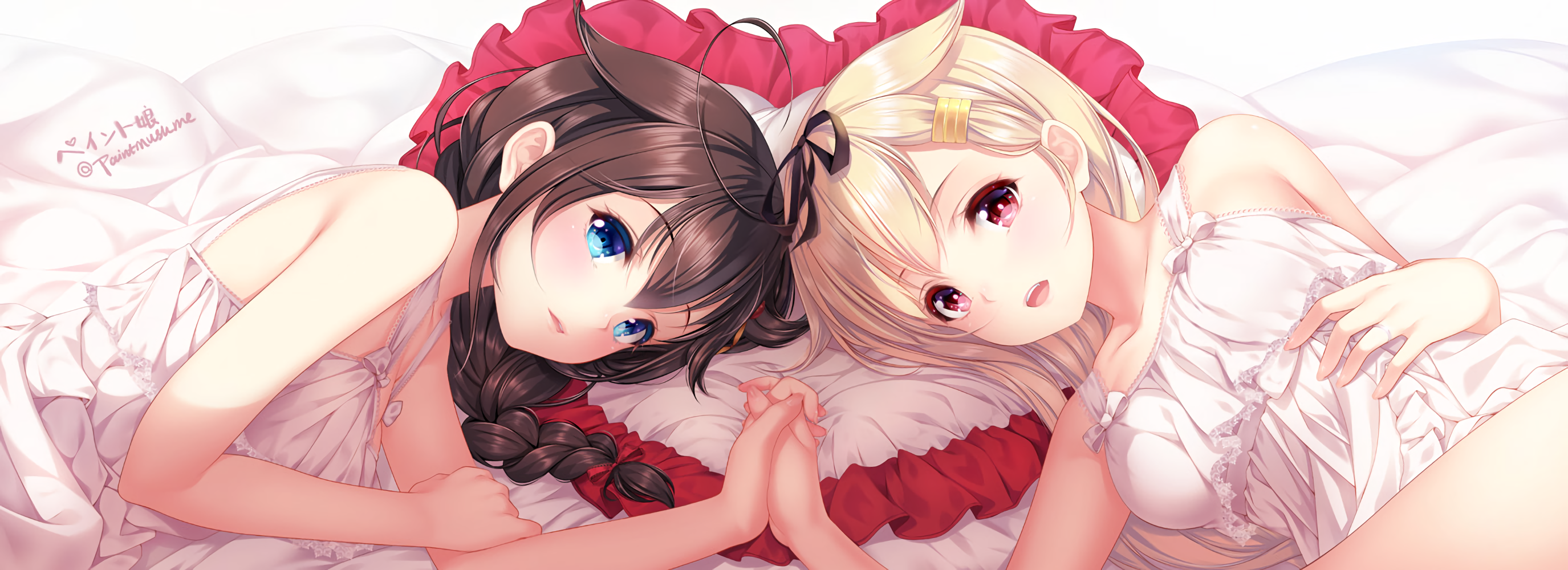 Anime 2750x1000 multiple display anime anime girls Shigure (KanColle) Yuudachi (KanColle) Kantai Collection yuri