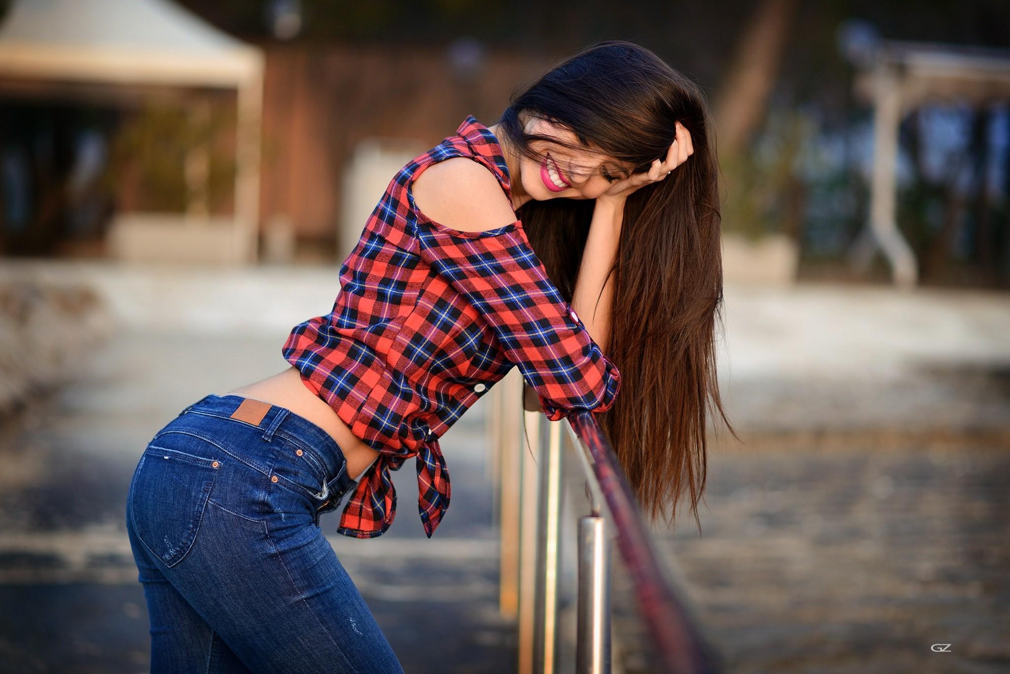 People 2048x1367 women Giovanni Zacche pants jeans shirt depth of field