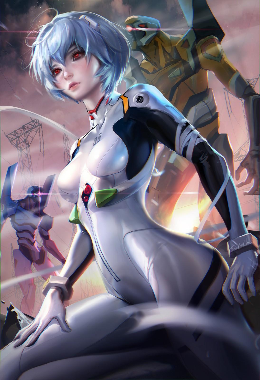 Anime 1095x1600 Sakimichan realistic Ayanami Rei Neon Genesis Evangelion