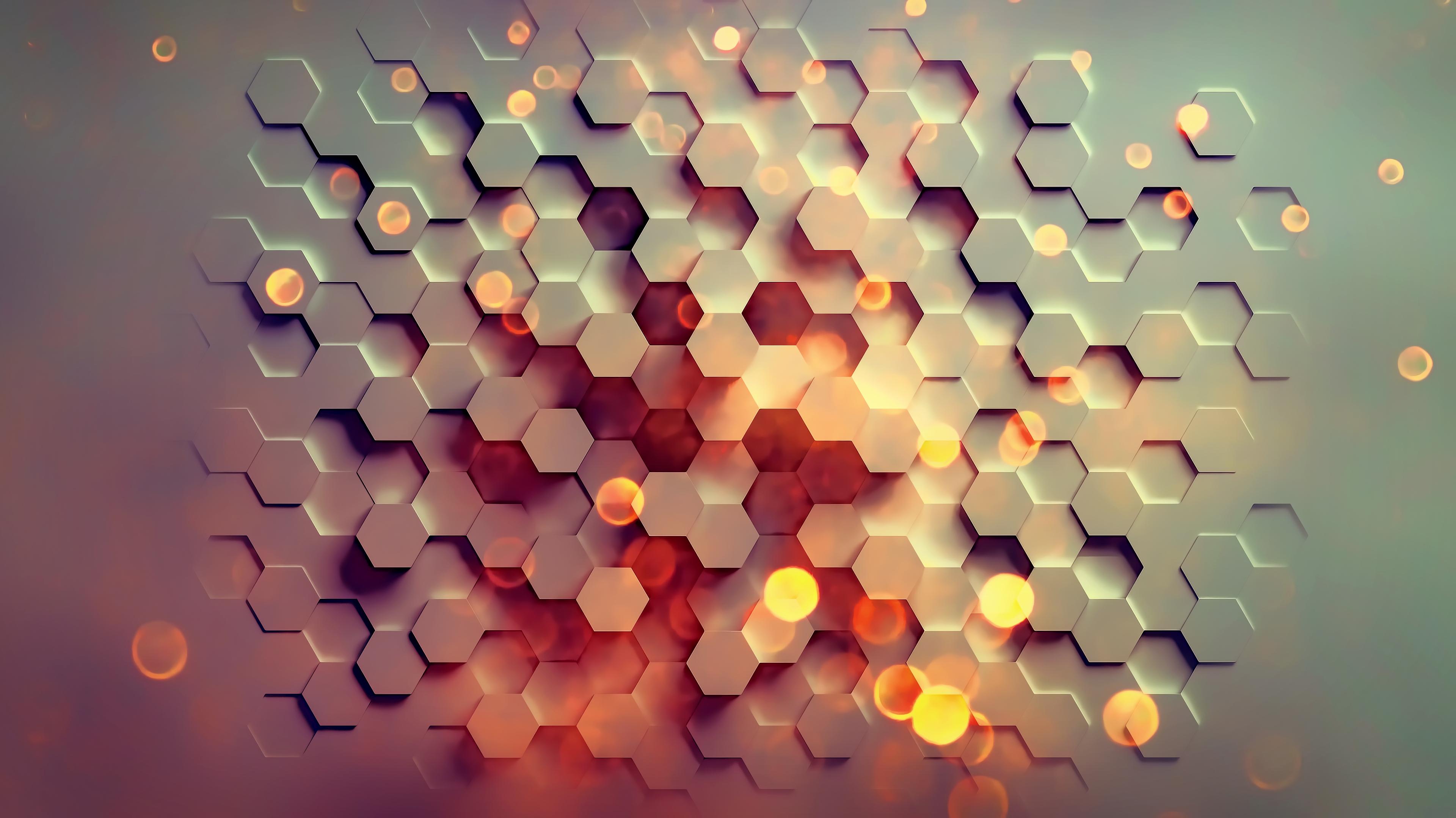General 3840x2160 abstract hexagon digital art texture