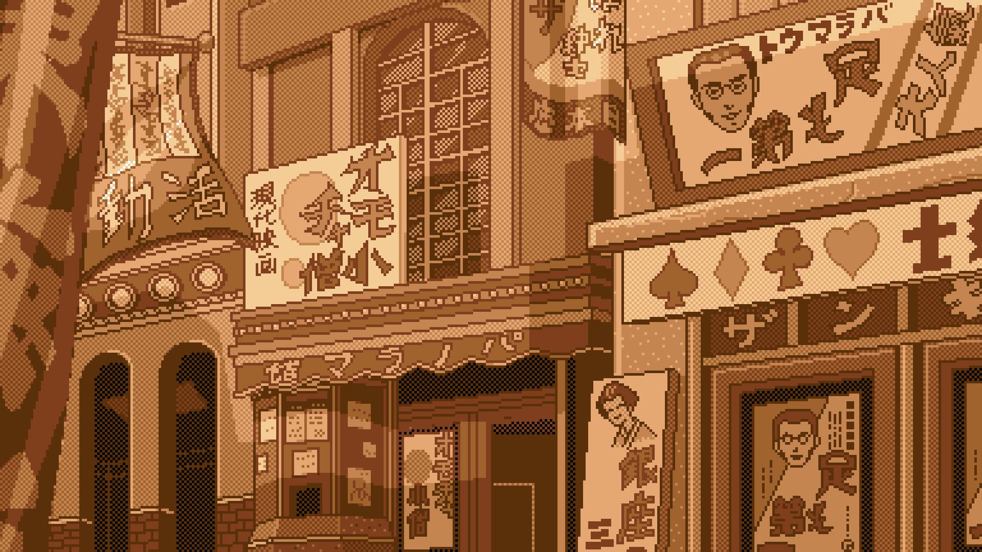 General 1920x1080 digital art pixel art pixelated pixels sepia building Asian