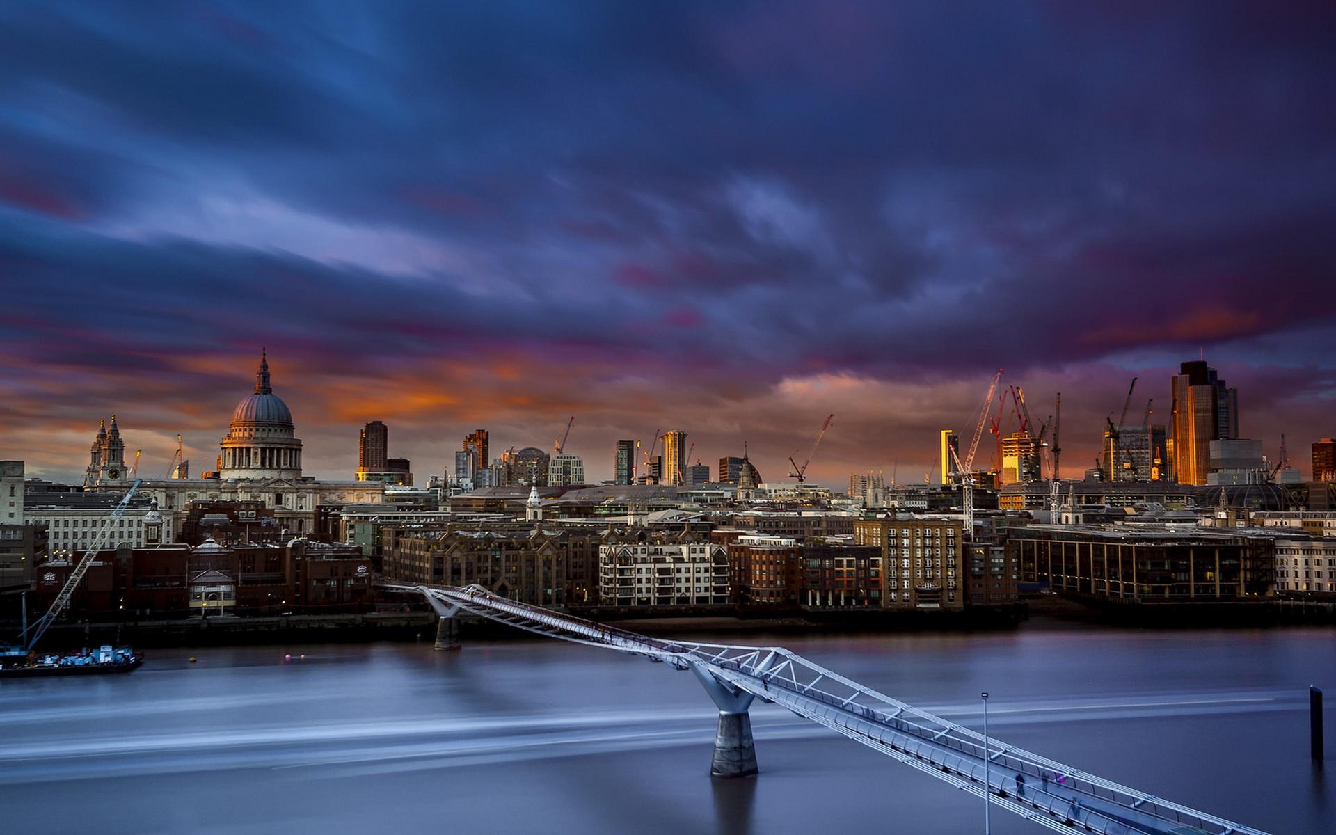 General 1920x1200 London cityscape St. Paul's Cathedral cranes (machine) bridge River Thames England
