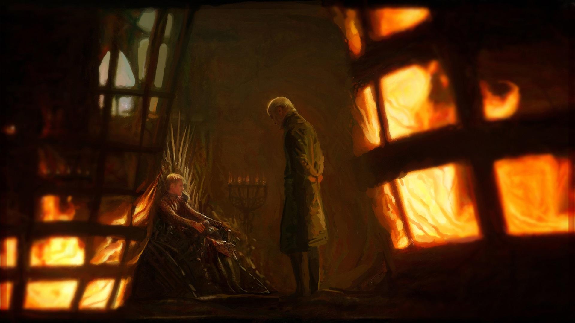 General 1920x1080 Tywin Lannister Joffrey Baratheon Game of Thrones artwork fan art fire Iron Throne fantasy art