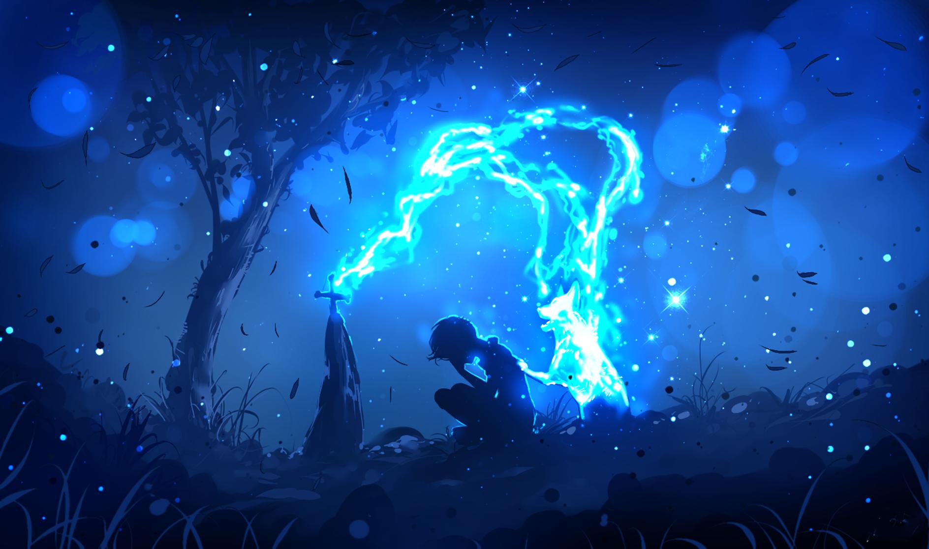 General 1888x1117 digital art artwork dog Spirit fantasy art sadness grave death ryky cyan blue