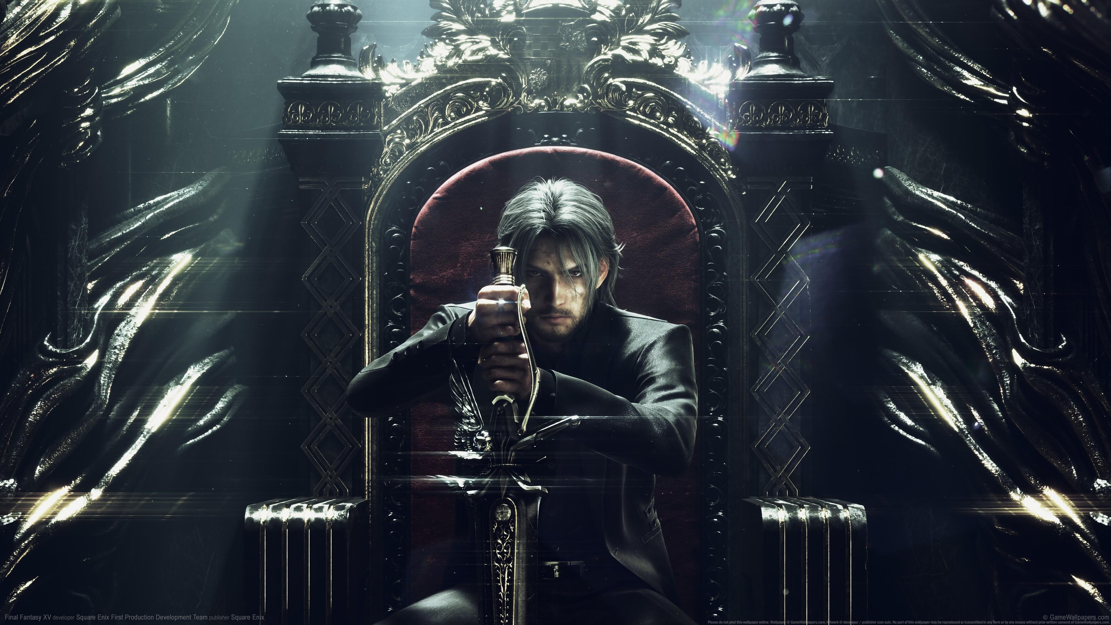 General 3840x2160 video games digital art Final Fantasy XV throne men sword Square Enix Final Fantasy Noctis
