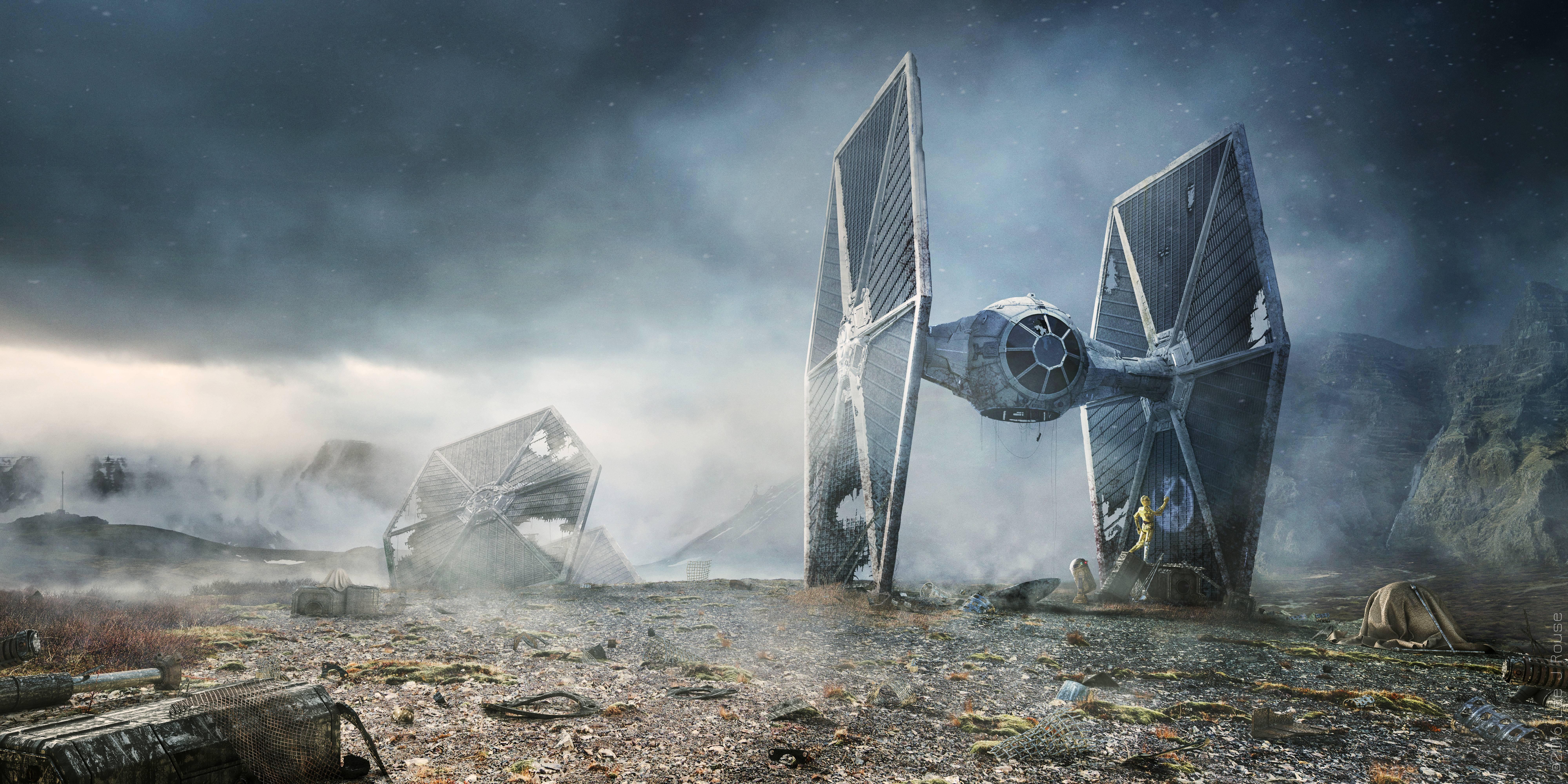 General 8000x4000 Star Wars TIE Fighter C-3PO R2-D2 Star Wars Droids science fiction wreck digital art