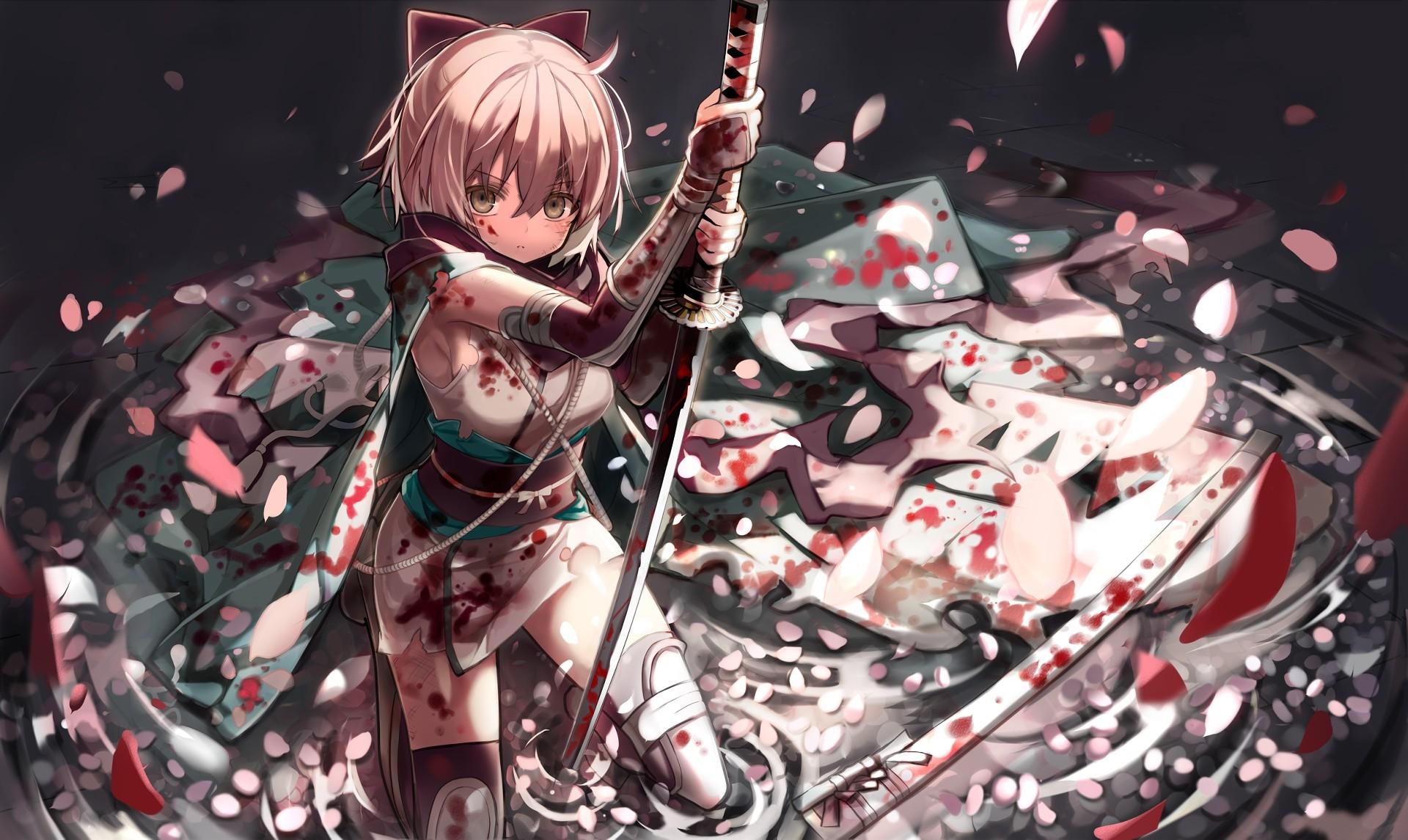 Anime 1920x1146 blonde blood Fate/Grand Order Fate Series katana petals Saber Sakura Saber short hair sword weapon yellow eyes