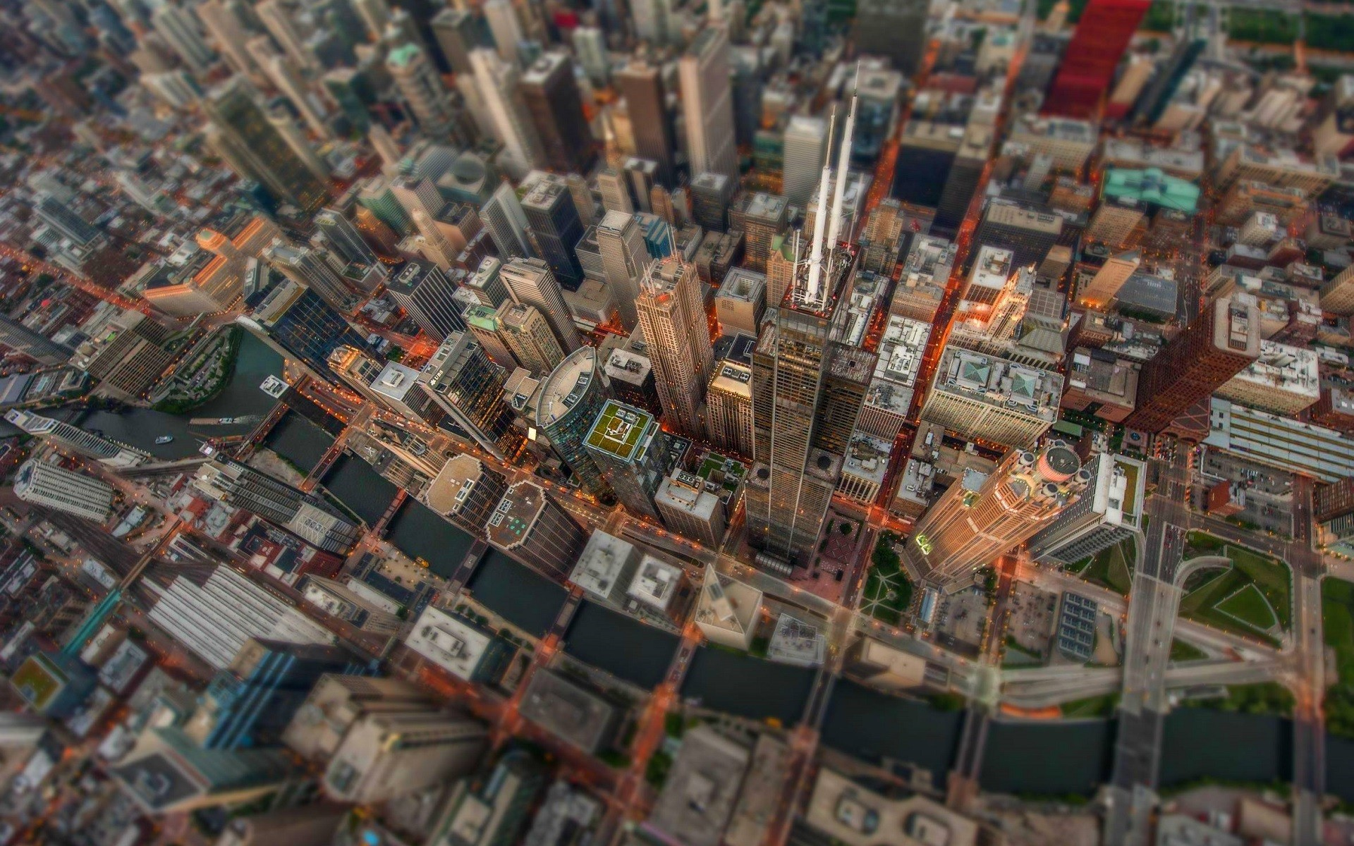 General 1920x1200 Chicago city cityscape building river skyscraper bird's eye view tilt shift USA