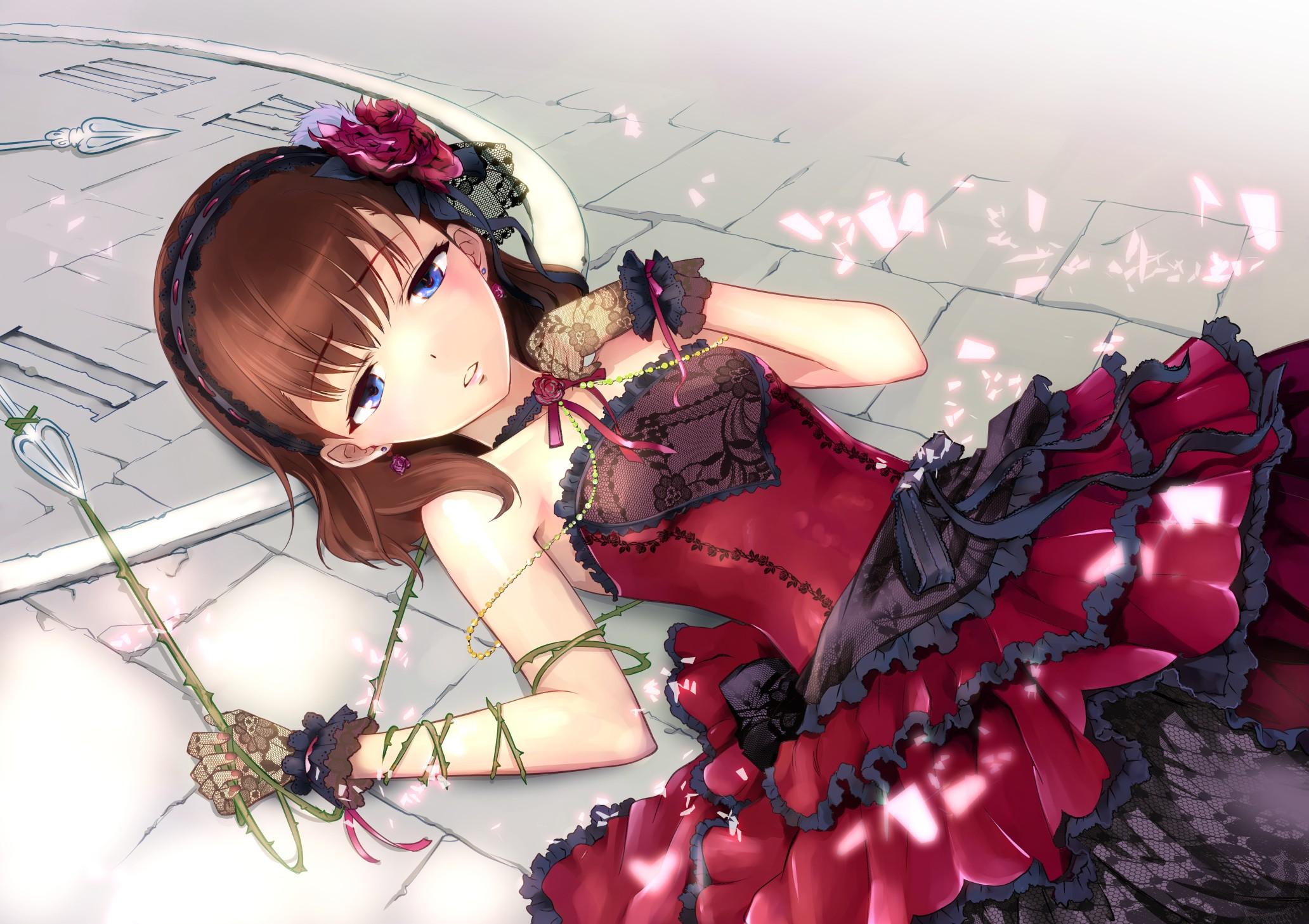 Anime 2064x1457 anime anime girls dress long hair brunette blue eyes THE iDOLM@STER: Cinderella Girls Kazumiya Akira Sakuma Mayu