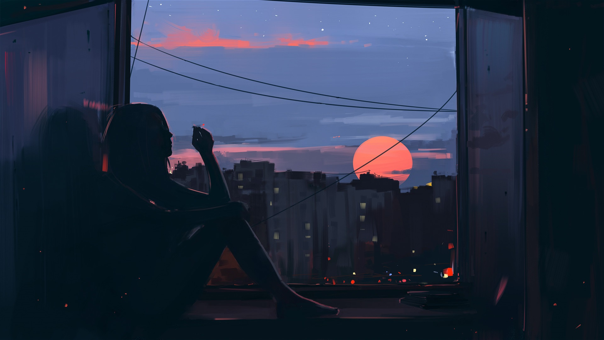 General 1920x1080 women dark window sunset city smoking barefoot artwork women indoors Aenami cigarettes digital digital art silhouette