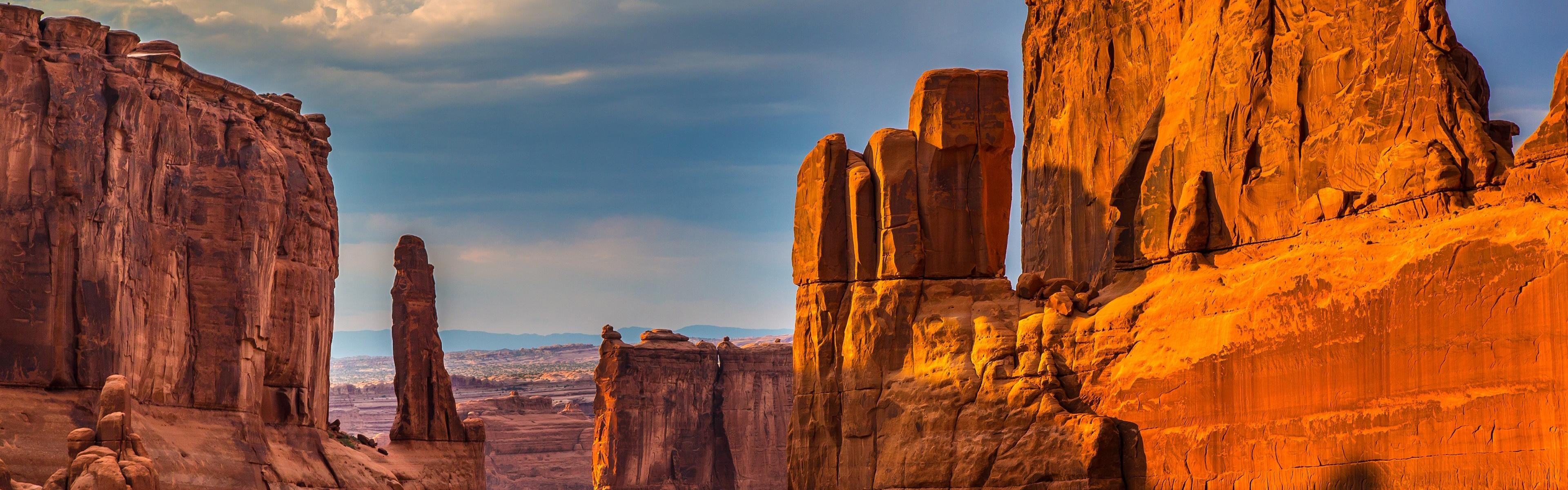 General 3840x1200 desert landscape clear sky canyon sunshade rocks nature