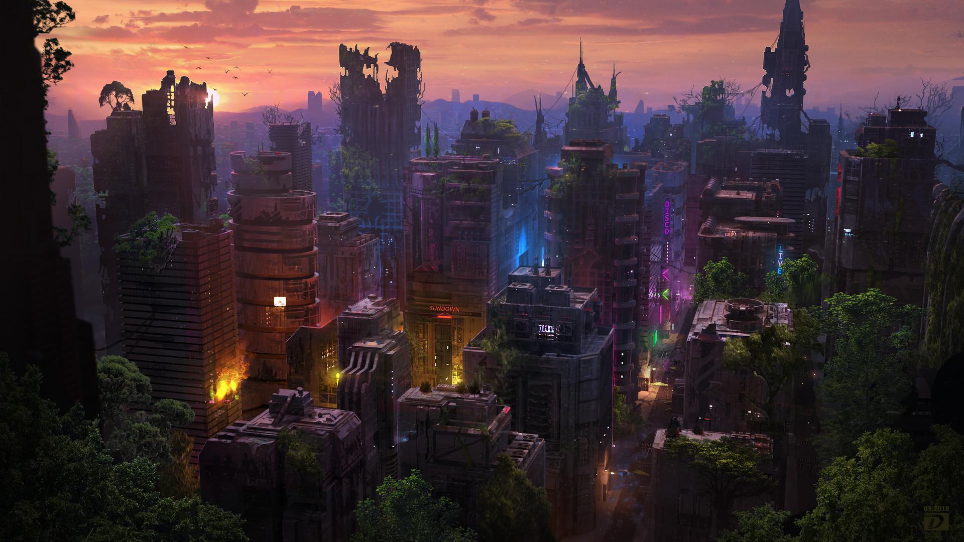 General 1920x1080 digital art city futuristic fantasy art building sunset science fiction ruins
