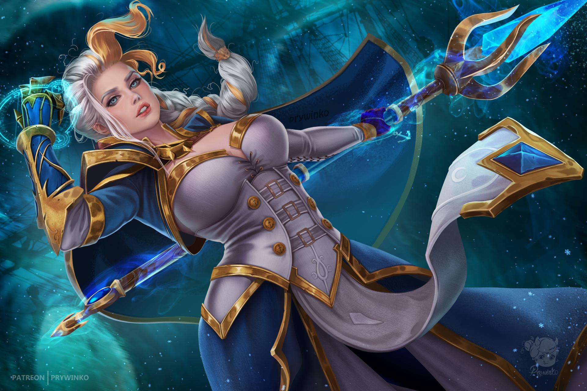 General 1920x1280 Prywinko artwork women staff female warrior Warcraft Jaina Proudmoore