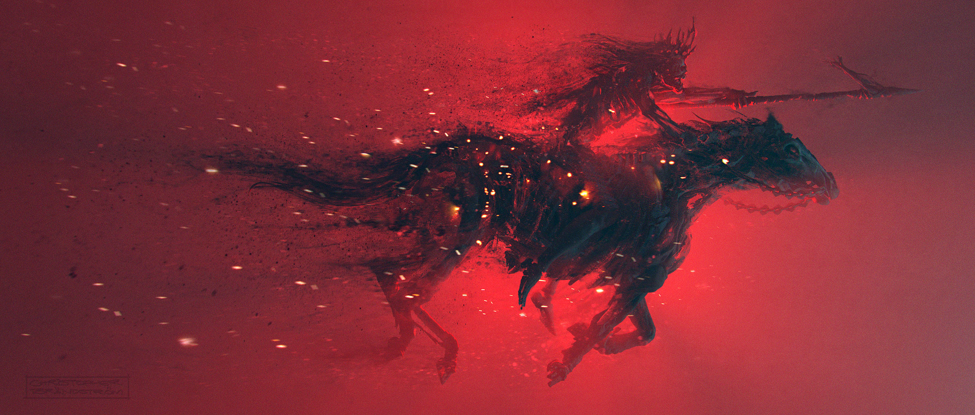 General 1920x817 horse skeleton digital dead spear artwork red