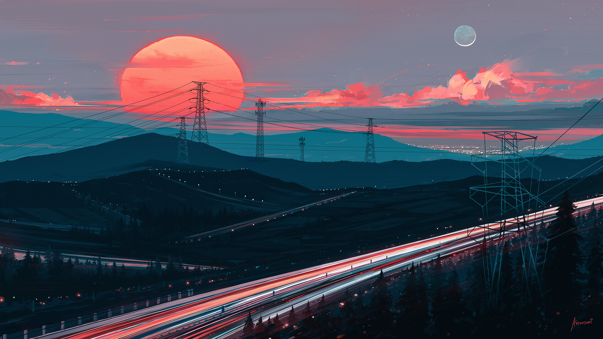 General 1920x1080 Aenami trees forest hills sunset road power lines clouds Moon