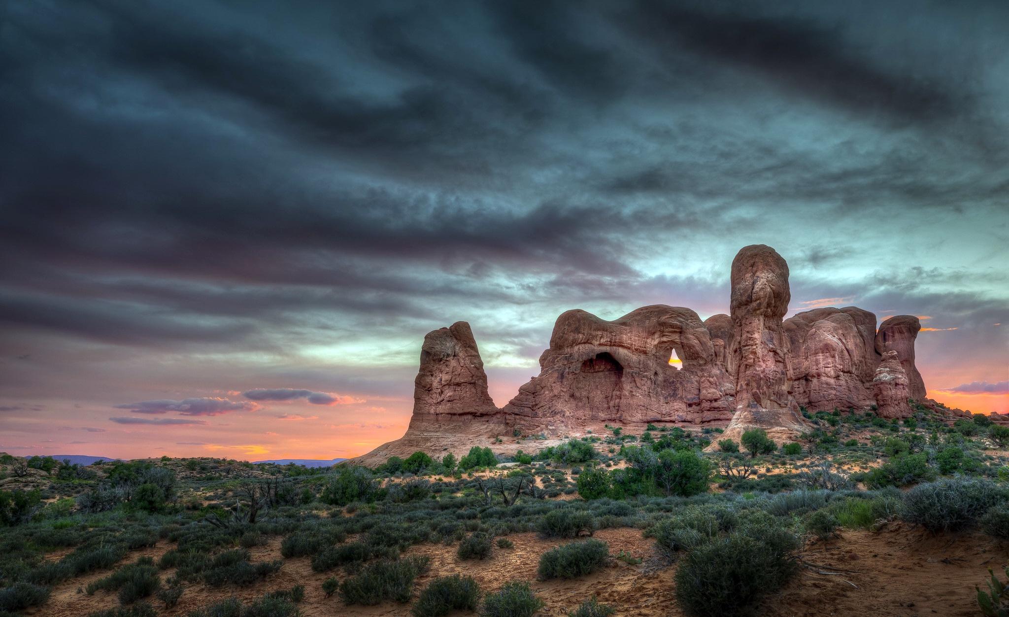 General 2048x1252 nature national park landscape rock clouds shrubbery rock formation desert