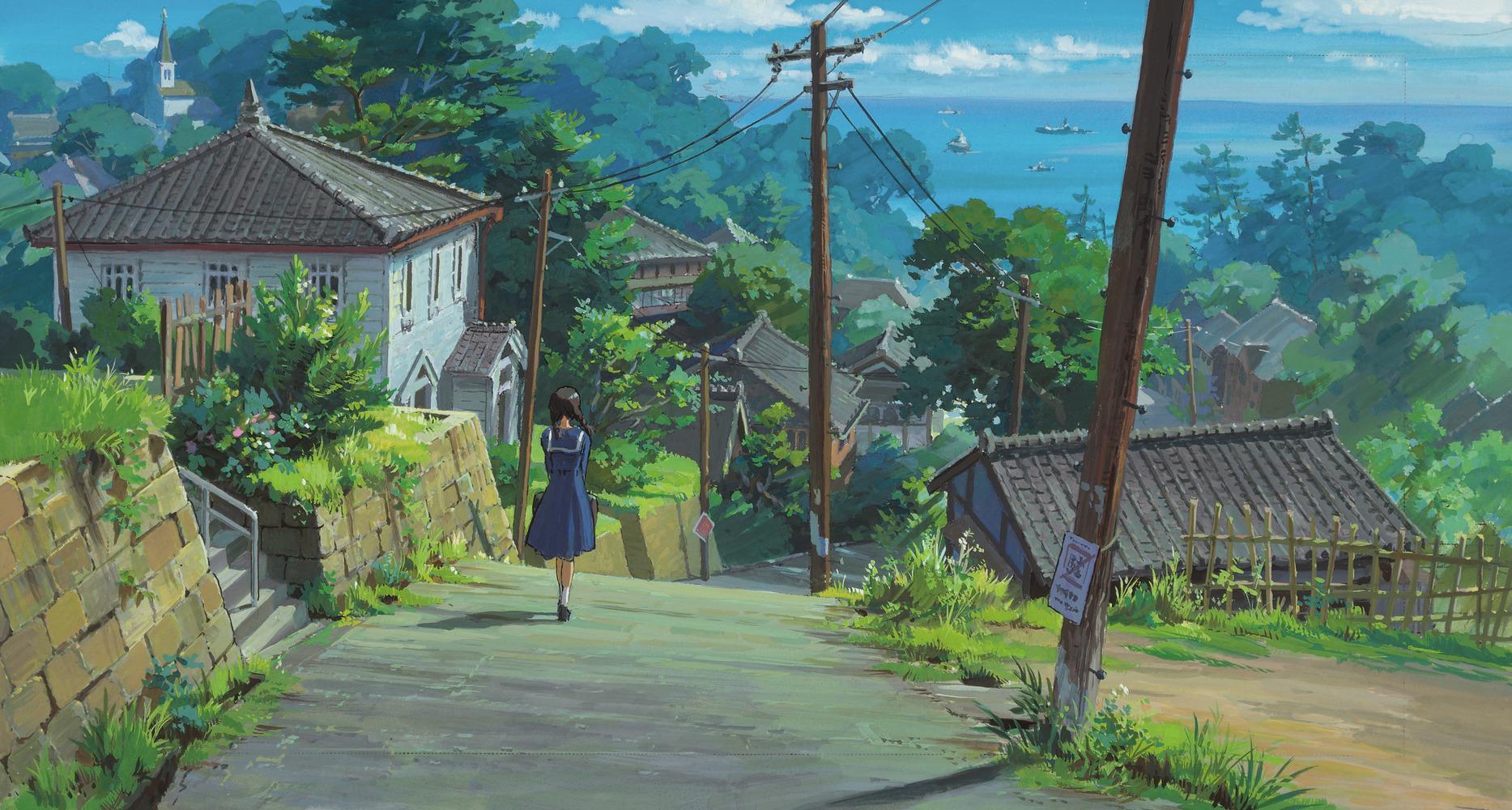 Anime 1867x1000 illustration city landscape drawing fan art