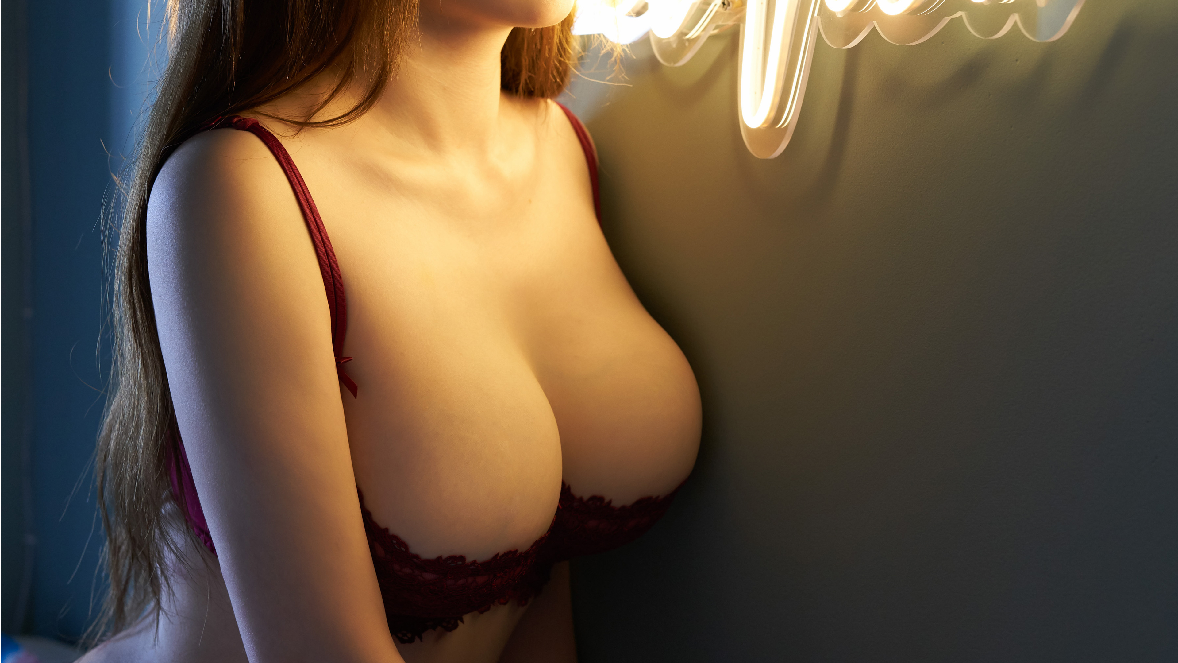 People 3840x2160 push-up bras neon glow long hair Asian women huge breasts big boobs Xue Li Sherry Chinese