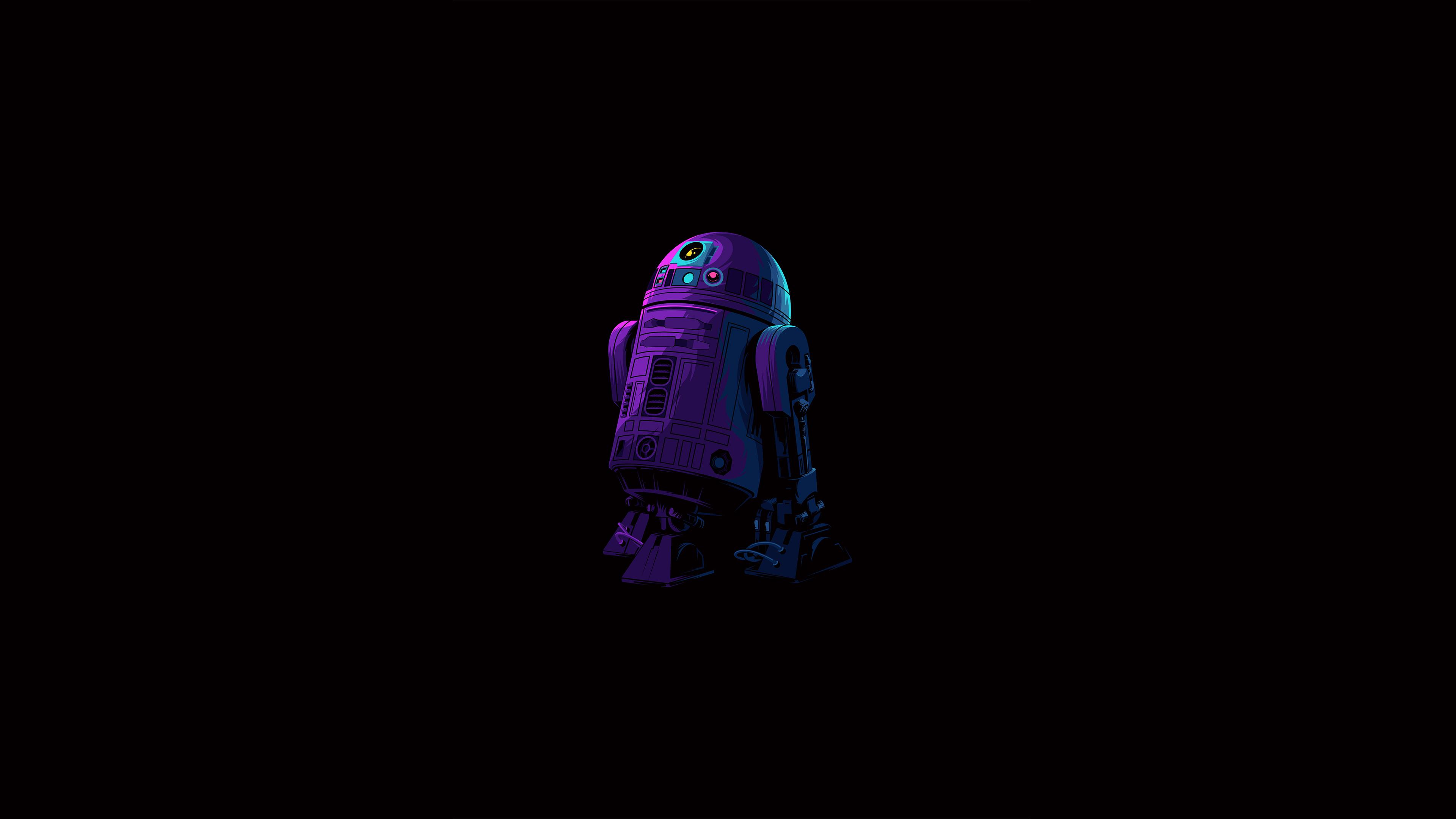 General 3840x2160 artwork illustration simple simple background minimalism black dark black background dark background colorful fictional fictional character fictional characters character design  R2-D2 robot