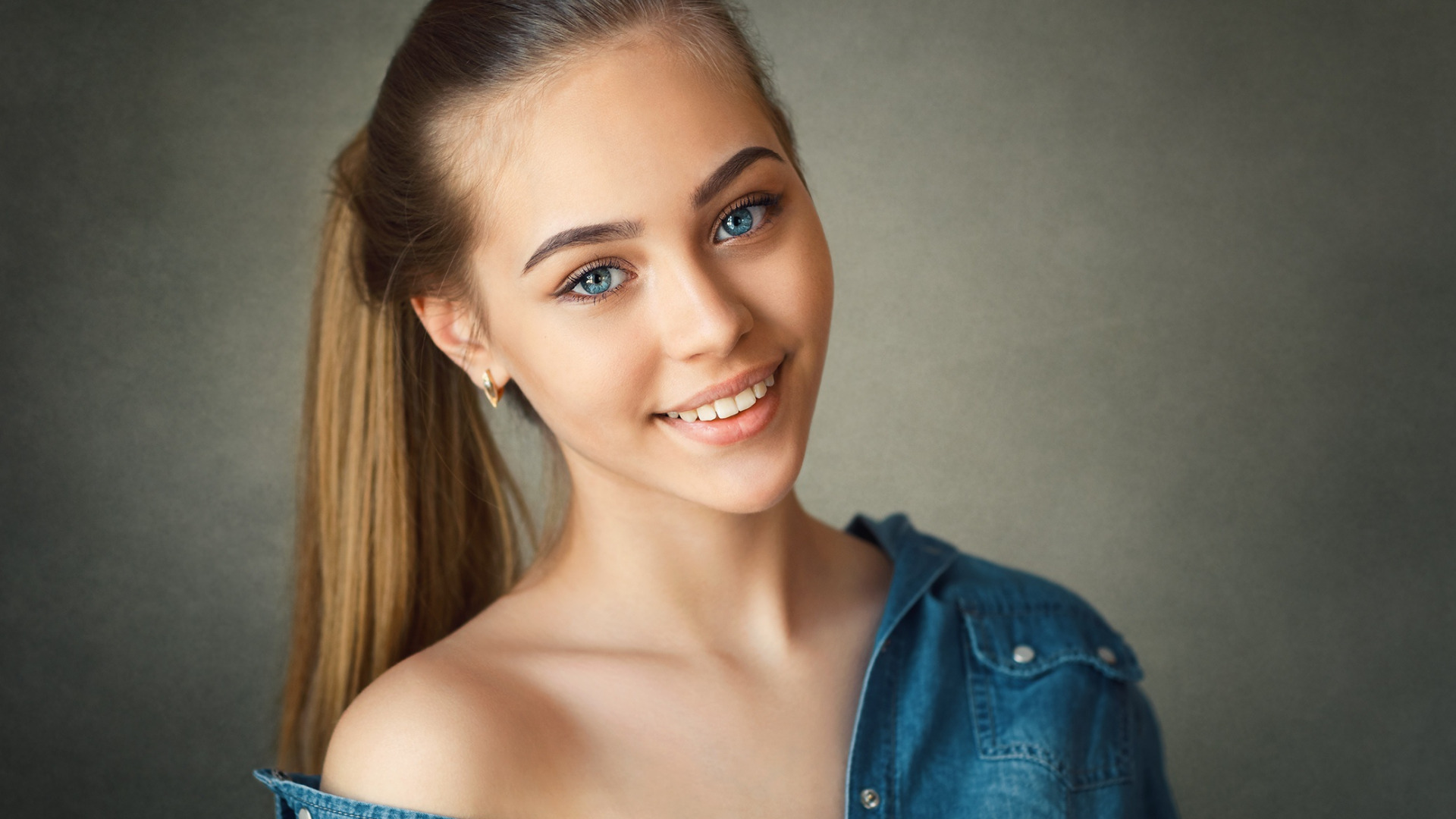 People 1920x1080 women model blonde long hair smiling simple background women indoors blue eyes portrait bare shoulders ponytail face teeth happy jeans shirt Nikolay Konarev Sonia Smyslova Nick Konar Sonia young woman jeans