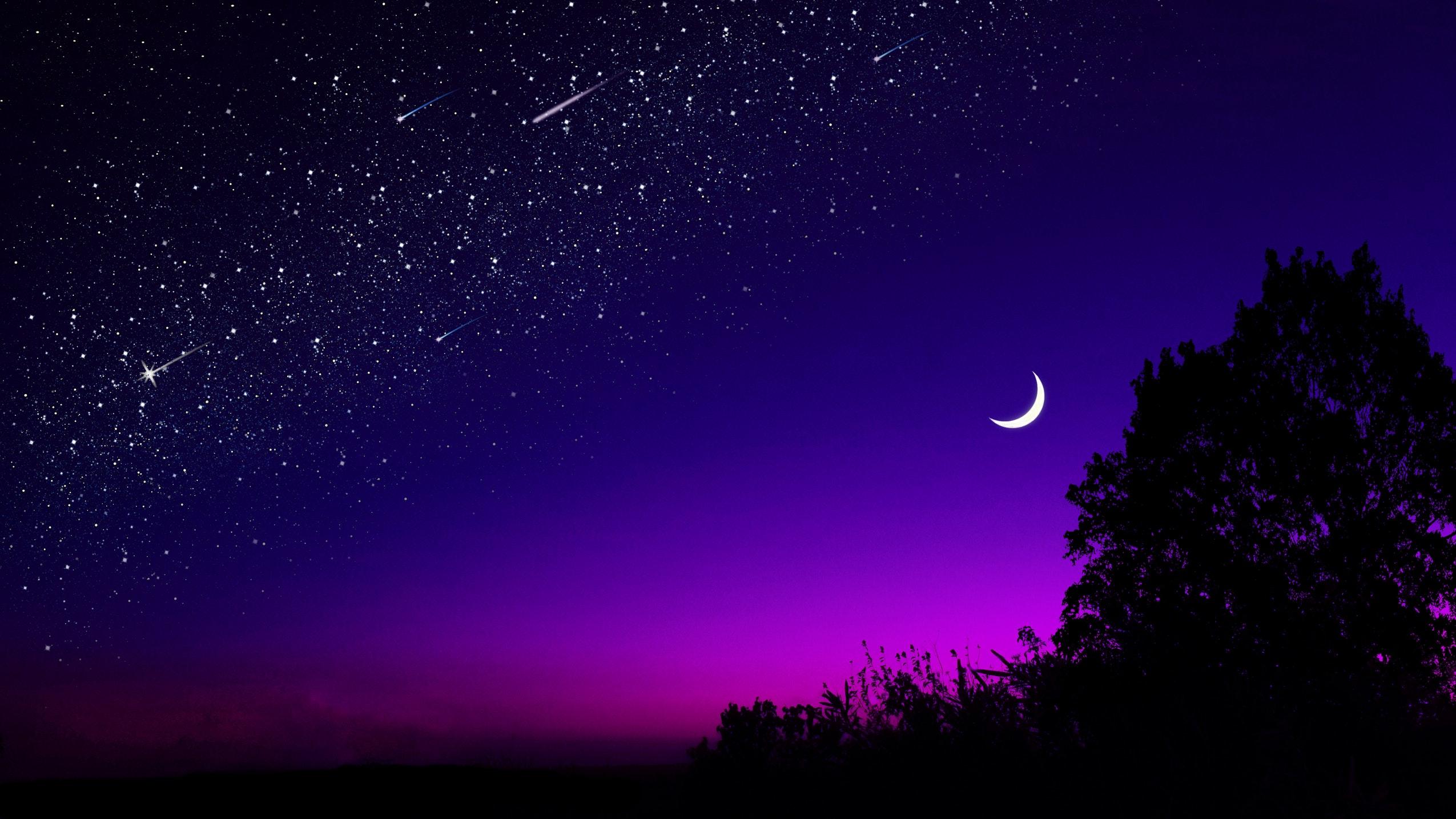 General 2550x1434 dusk sunset dark photography Moon night sky night sky skyscape landscape trees stars comet starry night edit purple evening silhouette crescent moon shooting stars purple sky astronomy meteors