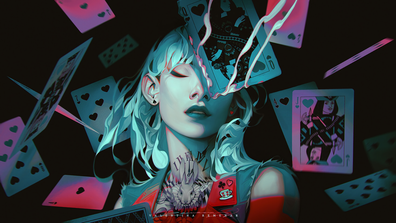 General 2720x1532 Alice in Wonderland digital art artwork fantasy girl Valentina Remenar cyan