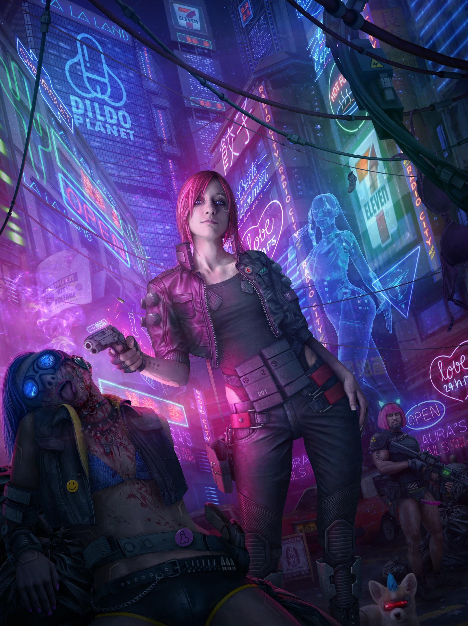 General 1920x2571 cyberpunk futuristic gun murder digital art hologram Tek Tan city neon lights futuristic city women