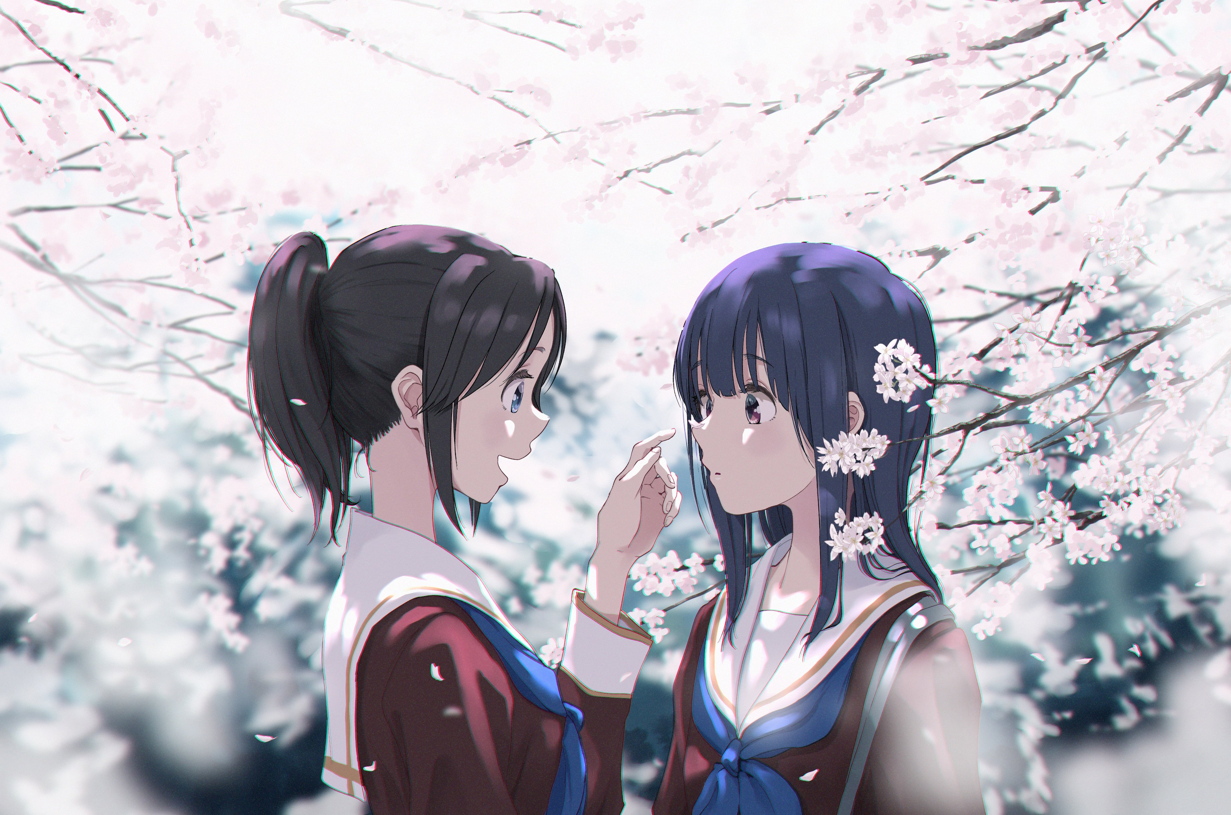 Anime 4096x2711 anime anime girls Liz to Aoi Tori Yoroizuka Mizore (Hibike! Euphonium) Kasaki Nozomi Sakura blossom school uniform