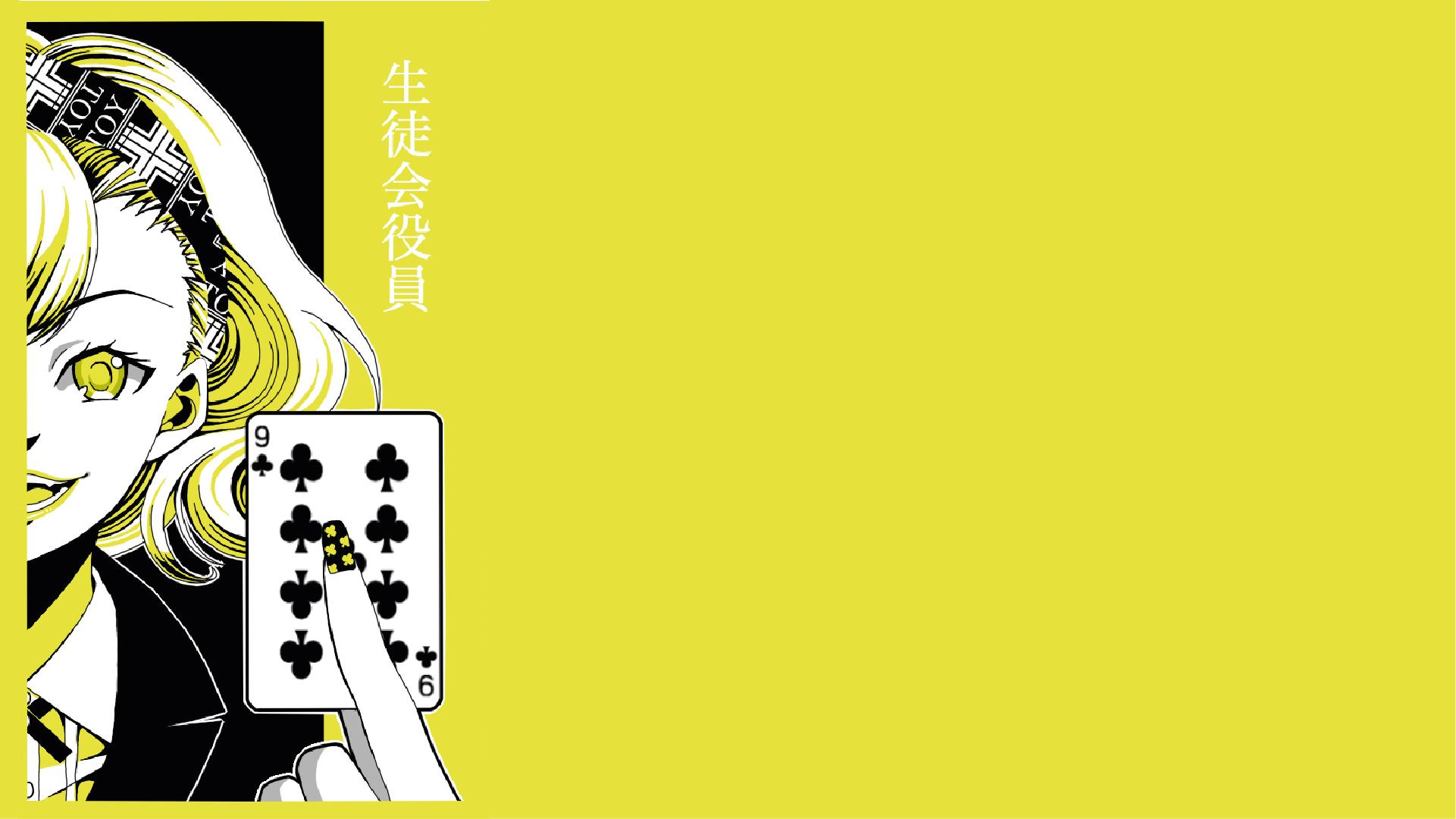 Anime 1921x1080 Kakegurui anime anime girls playing cards yellow background simple background yellow eyes