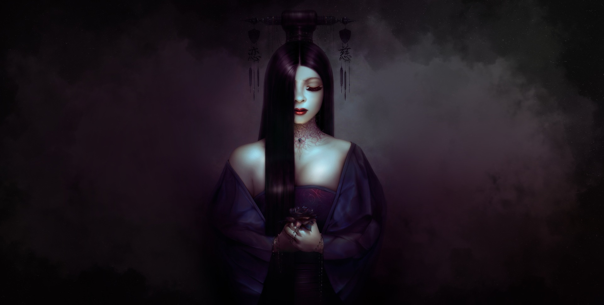 General 1920x970 women artwork fantasy girl dark dark hair fantasy art red lipstick closed eyes long hair