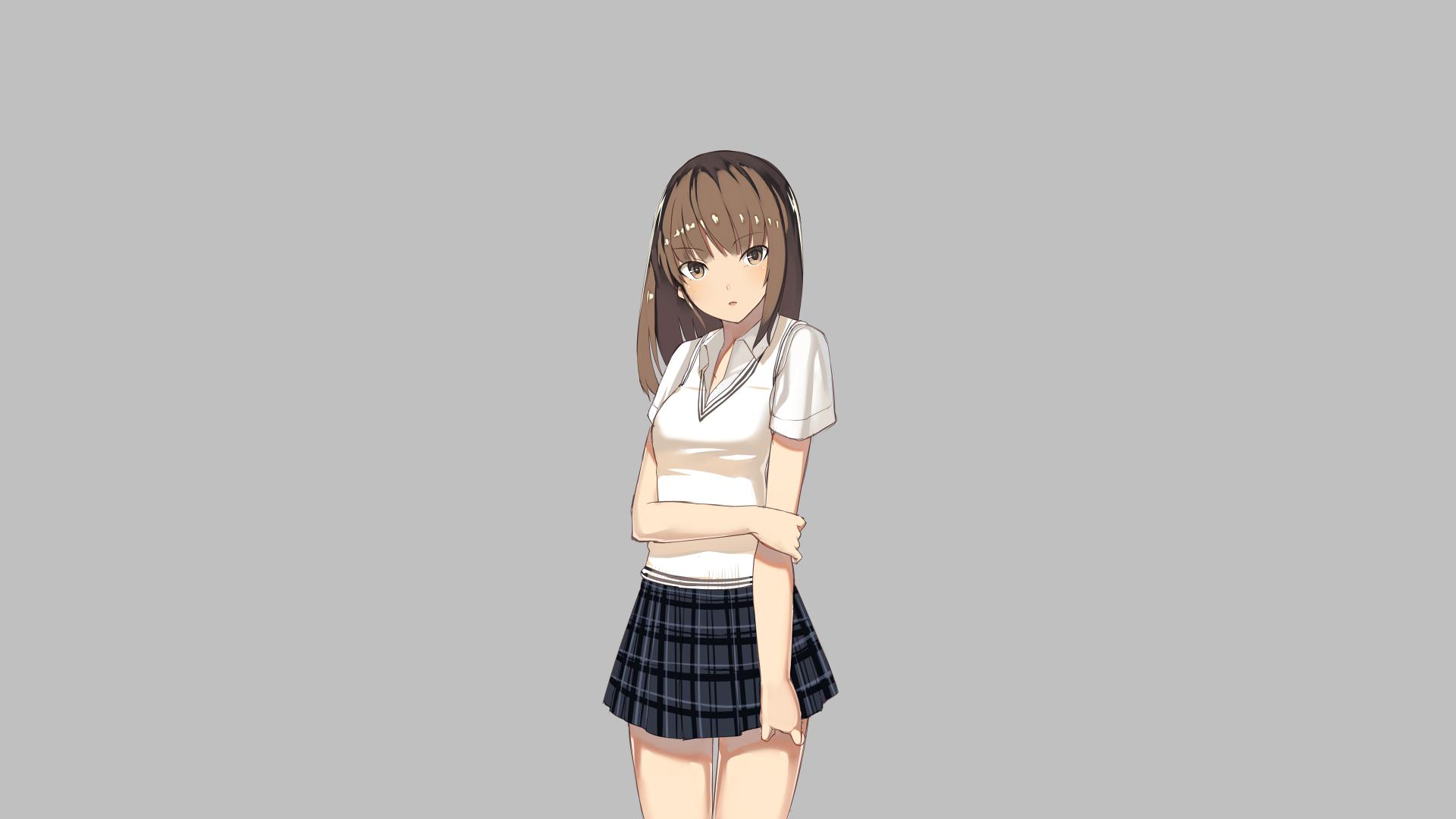 Anime 1920x1080 anime girls anime original characters schoolgirl miniskirt looking at viewer blushing gray background minimalism simple background artwork 2D illustration