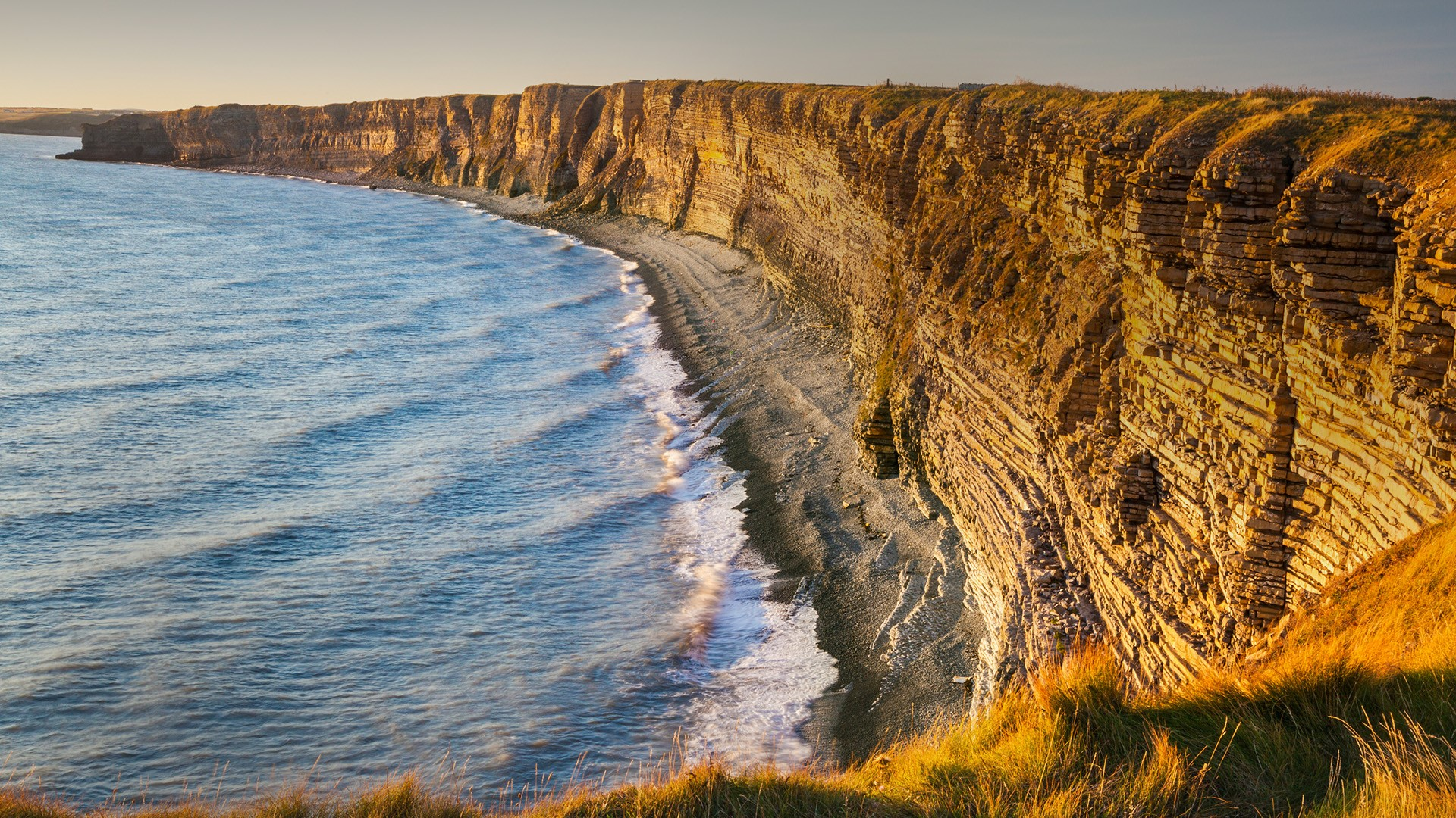 General 1920x1080 nature landscape sky sea water sand mountains sunset drone photo aerial view coast Wales UK