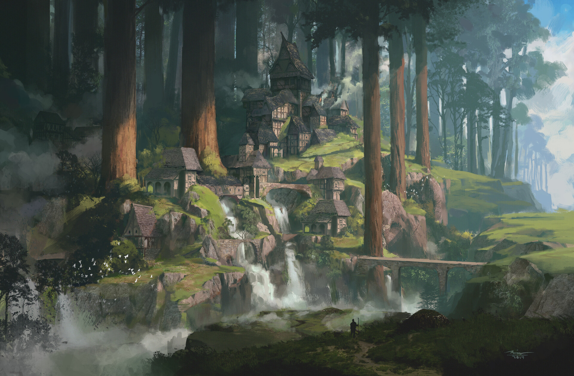 General 1920x1259 Sina Abbasnia city fantasy art village trees landscape artwork