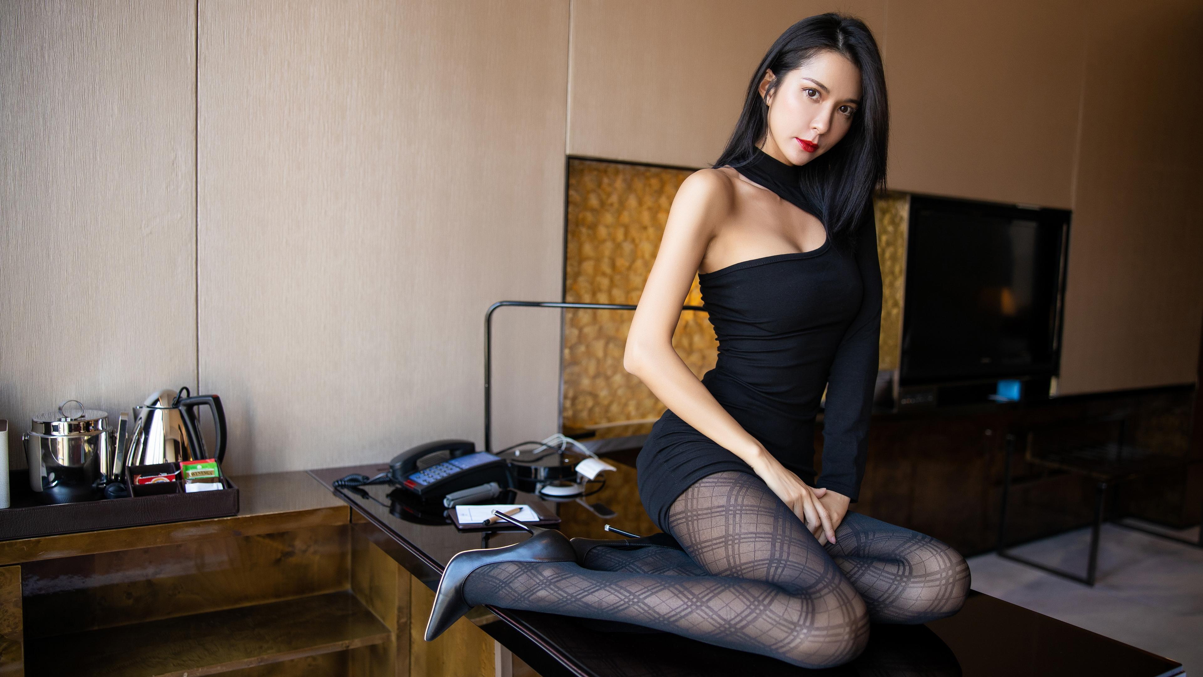 Asian, model, long hair, Chinese, Chinese model, legs