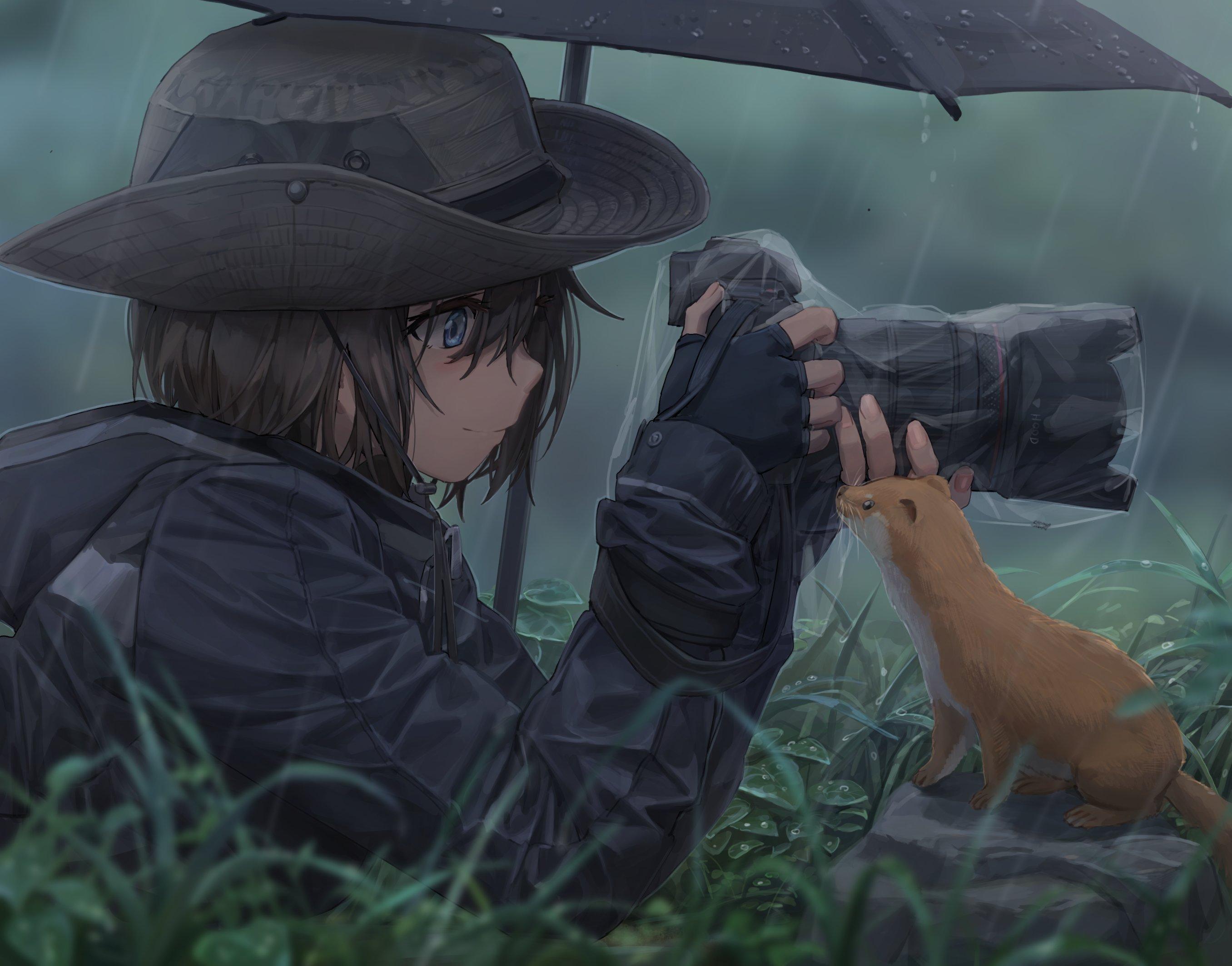Anime 2712x2126 anime anime girls digital art artwork 2D portrait yohan1754 weasel rain umbrella camera hat smiling dark hair blue eyes short hair grass