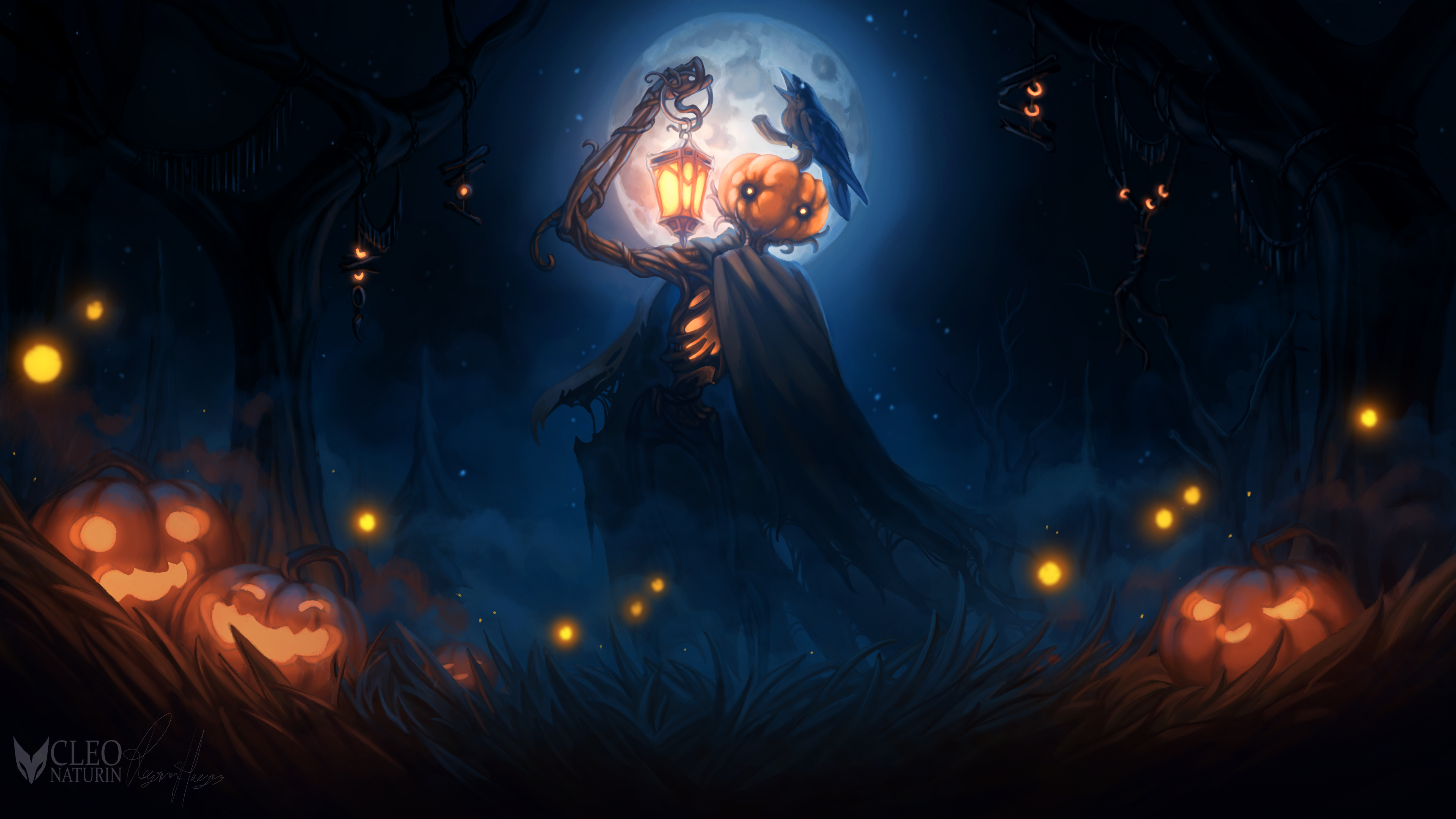 General 3840x2160 digital digital art artwork illustration drawing digital painting Halloween holiday spooky ambient atmosphere lights pumpkin Jack O' Lantern fantasy art dark dusk night lantern grass forest trees night sky Moon moonlight mist character design  fictional fictional character original characters crow