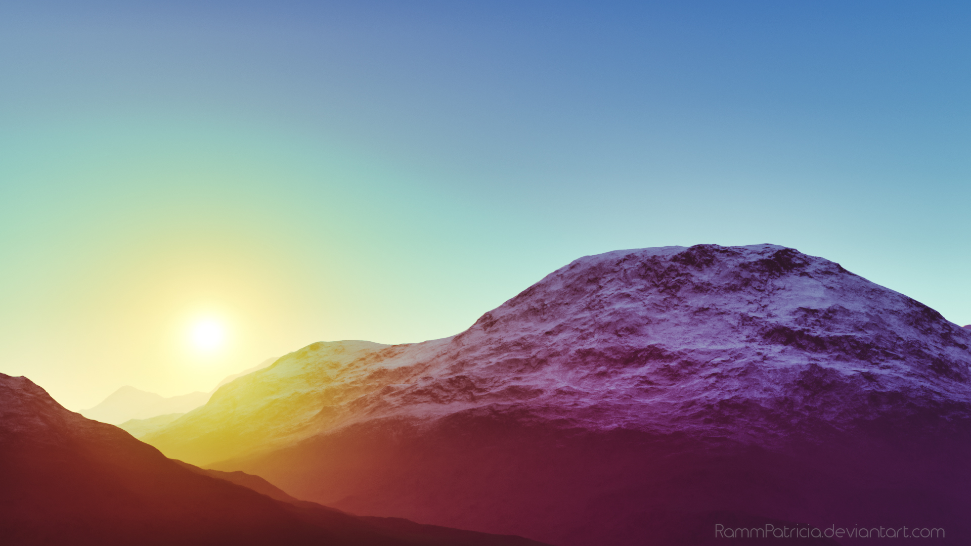 General 1920x1080 morning mountains Sun sunset snow snowy mountain