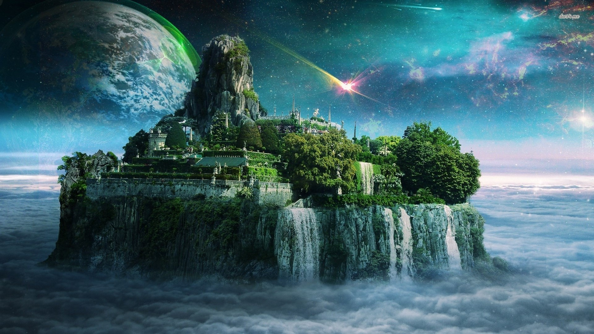 General 1920x1080 island water digital art fantasy art planet sky artwork