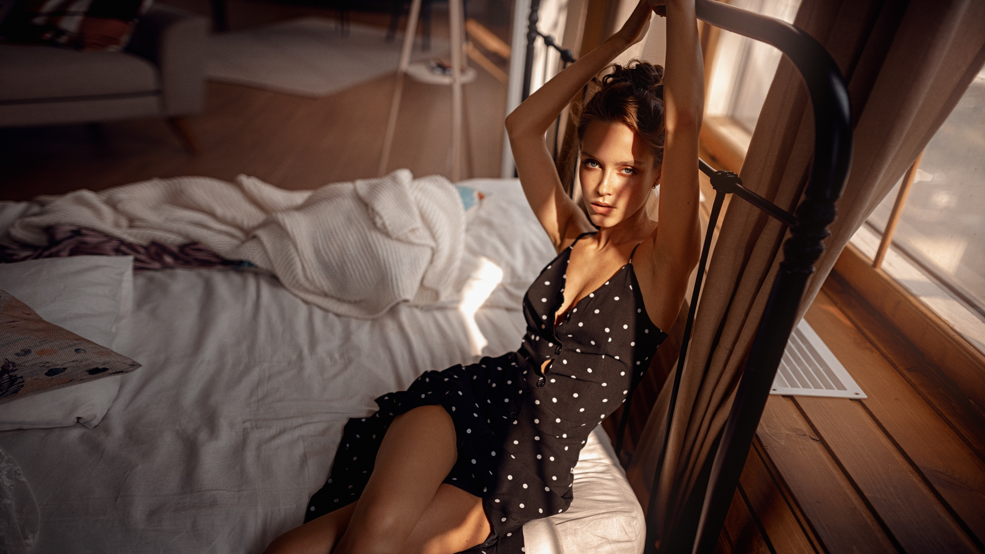 People 2000x1125 women model brunette hairbun looking at viewer arms up cleavage dress sitting in bed bed depth of field indoors women indoors Georgy Chernyadyev polka dots Fenix Raya