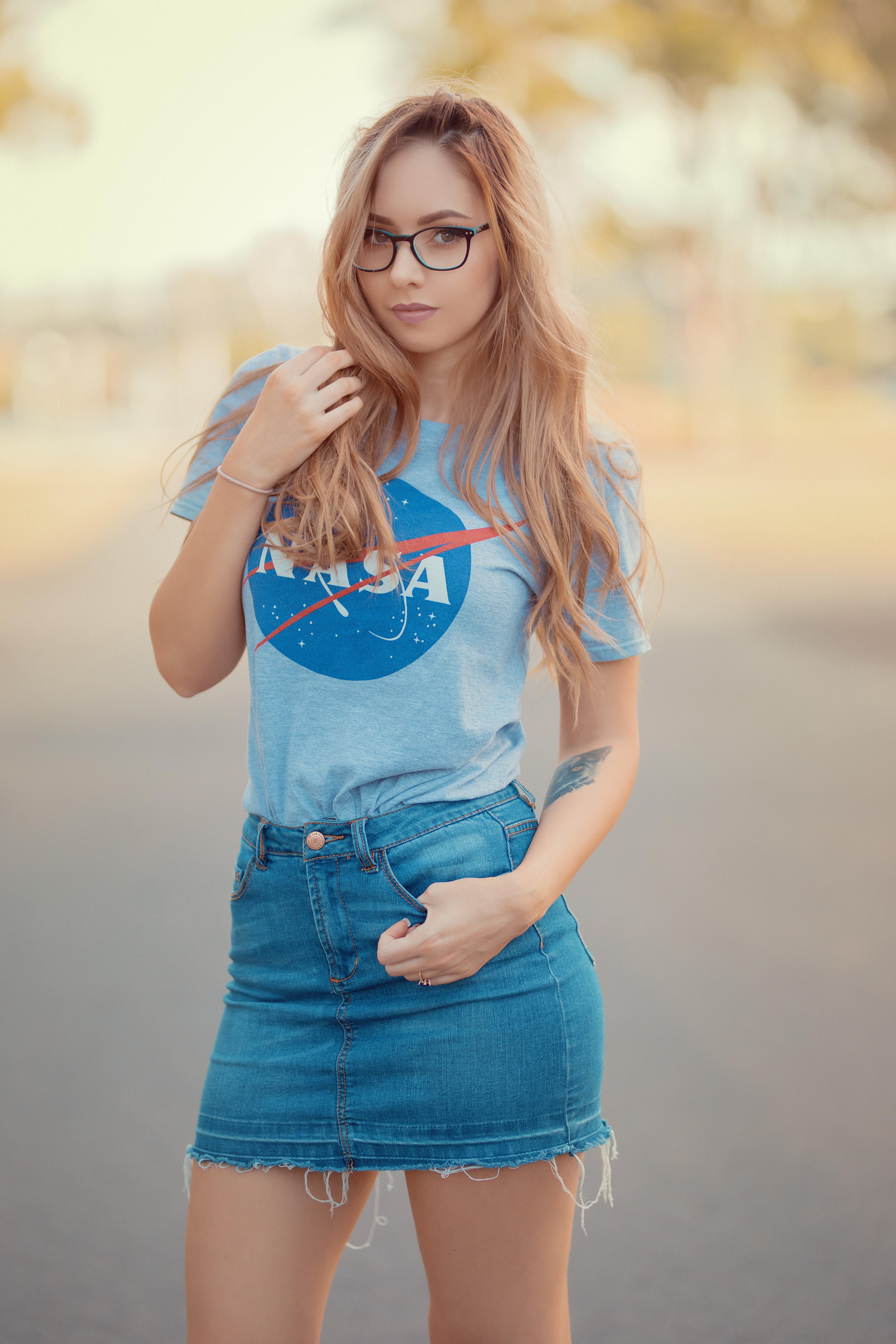 People 3546x5319 Amy Thunderbolt cosplay model redhead women NASA jean skirt