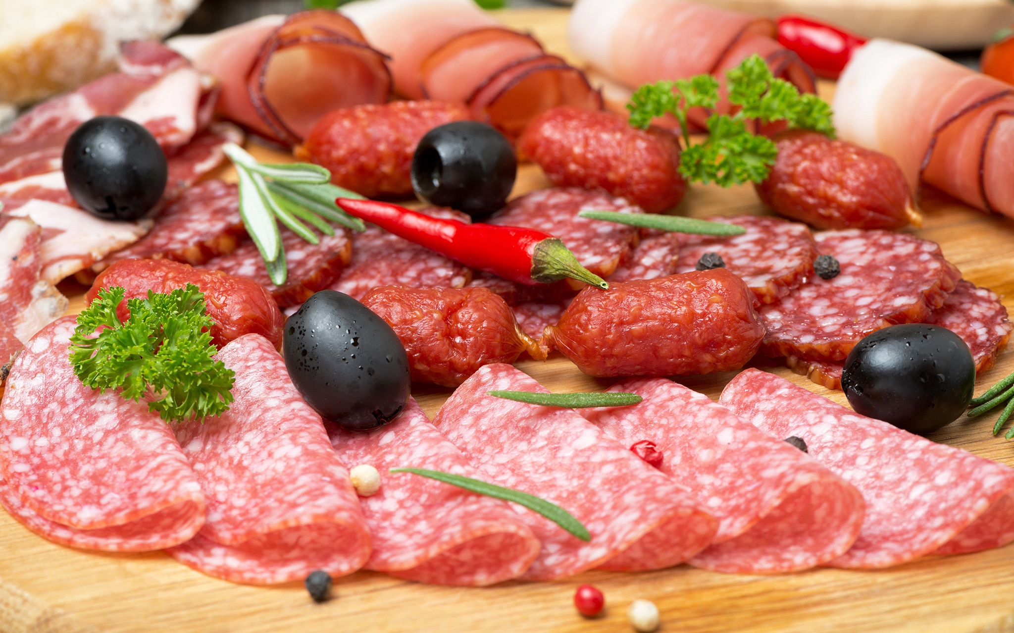 General 2048x1278 colorful salami food sausage olives meat animals flesh muscles pigs death parsley Black pepper (Spice) chilli peppers rosemary cutting board