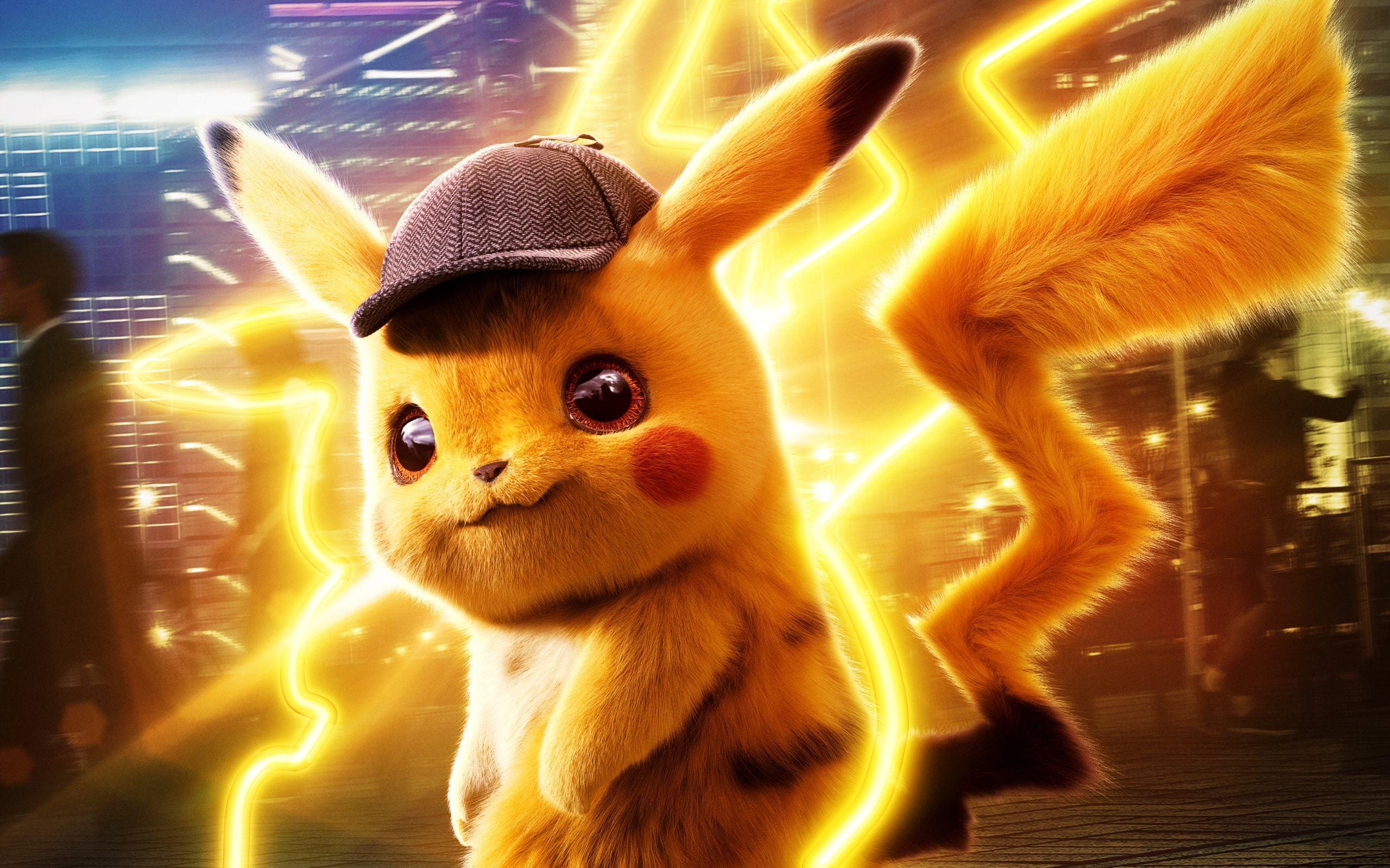 Anime 2560x1600 Pokémon Pikachu Pokémon Detective Pikachu movies hat lightning