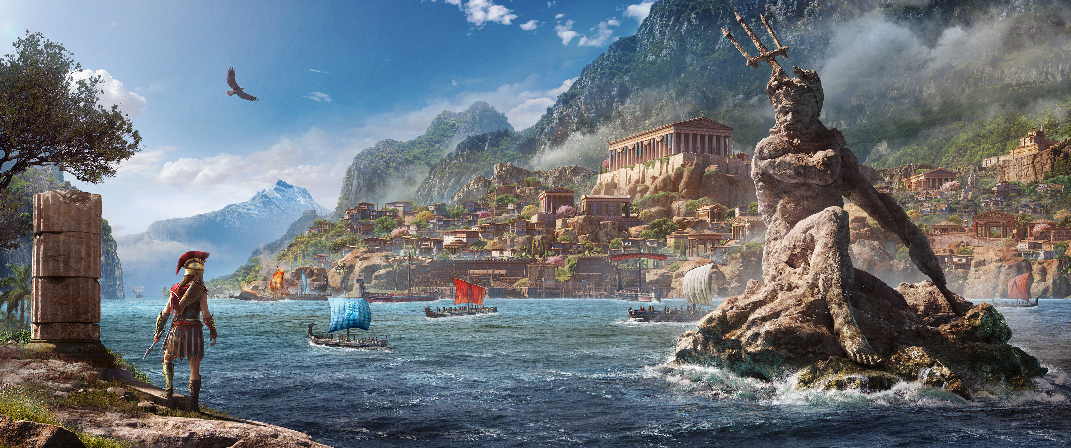 General 3440x1440 video games video game art Assassin's Creed Odyssey Greece ancient greece Spartans mythology ultrawide Assassin's Creed Kassandra