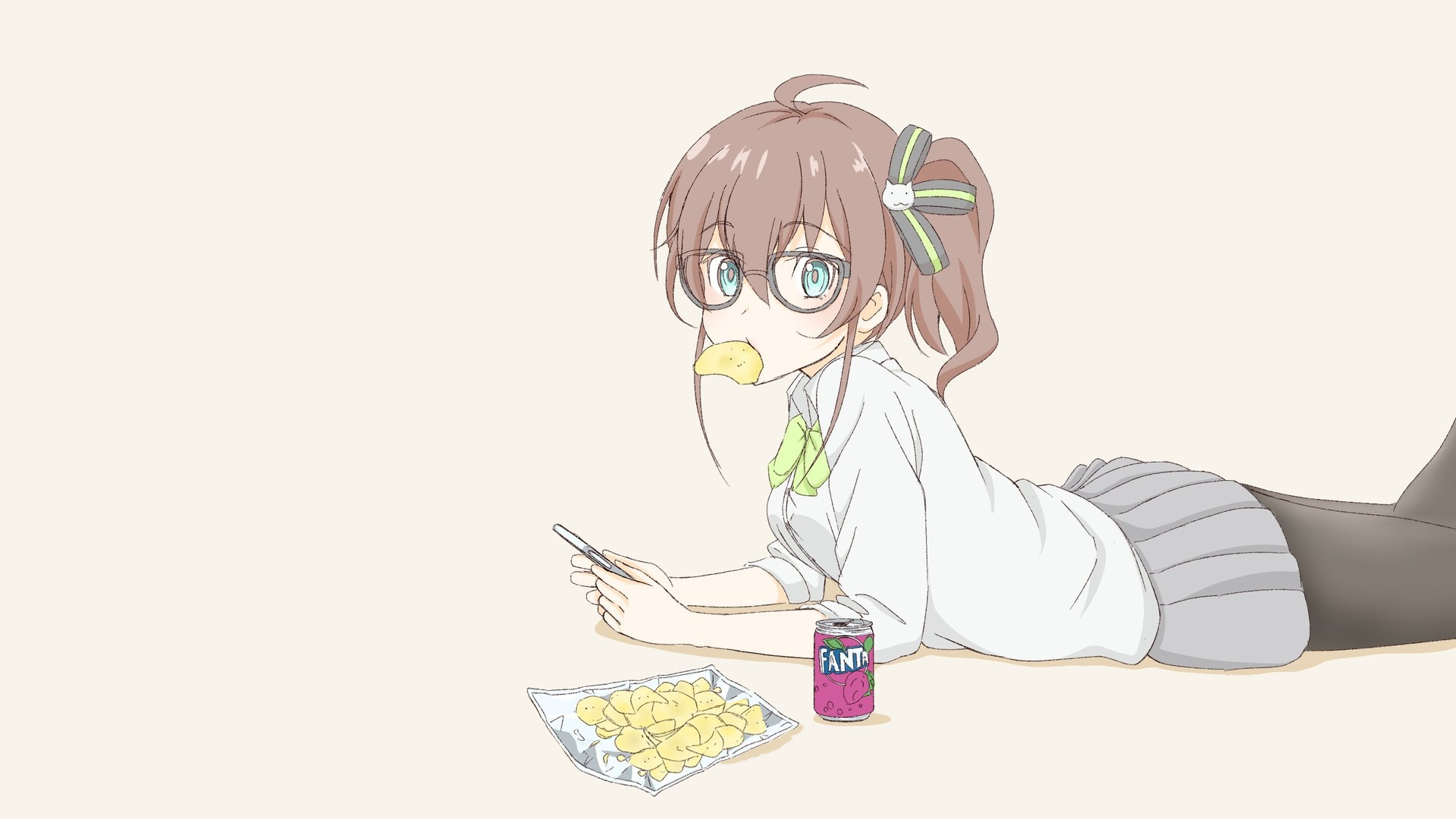 Anime 1920x1080 anime manga anime girls simple background chips Fanta soda meganekko pigtails