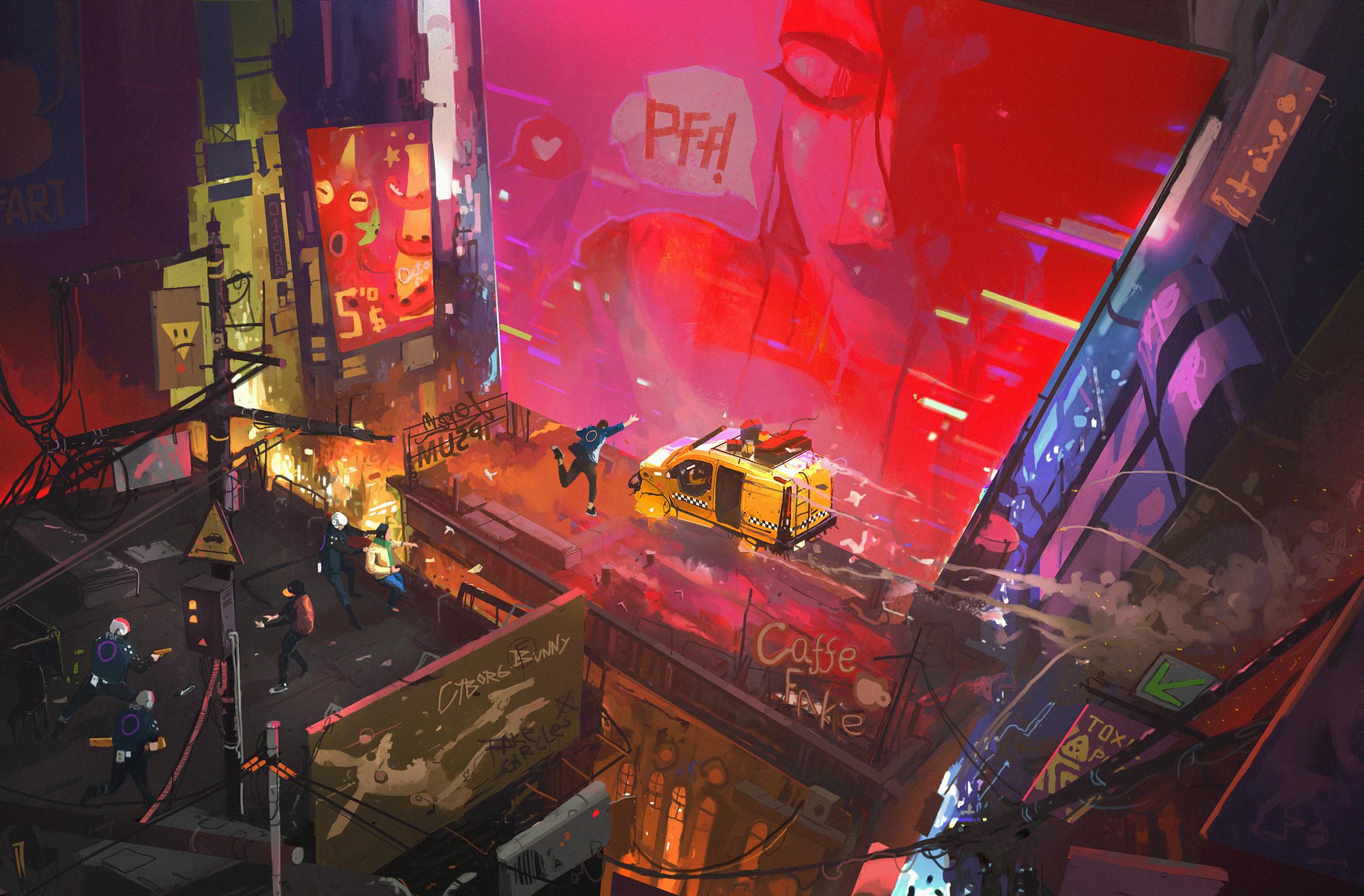 General 2333x1533 artwork digital art Ismail Inceoglu futuristic cyber city