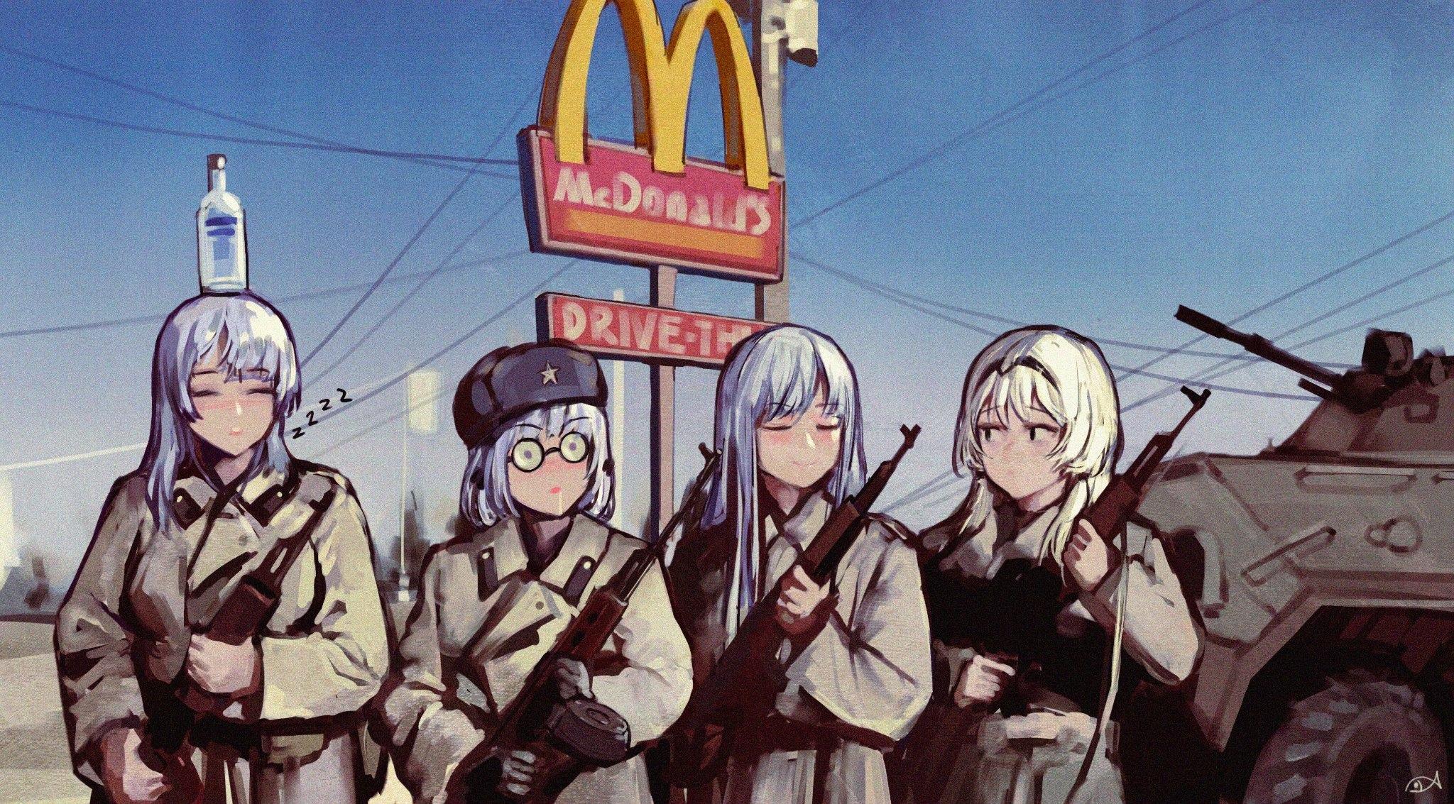 Anime 2048x1133 anime girls WestKing Girls Frontline AK-12 (Girls Frontline) AK-15 (Girls Frontline) AN-94 (Girls Frontline) RPK-16 (Girls Frontline) BTR-80 vehicle Military Uniform military vehicle weapon vodka ushanka parody McDonald's