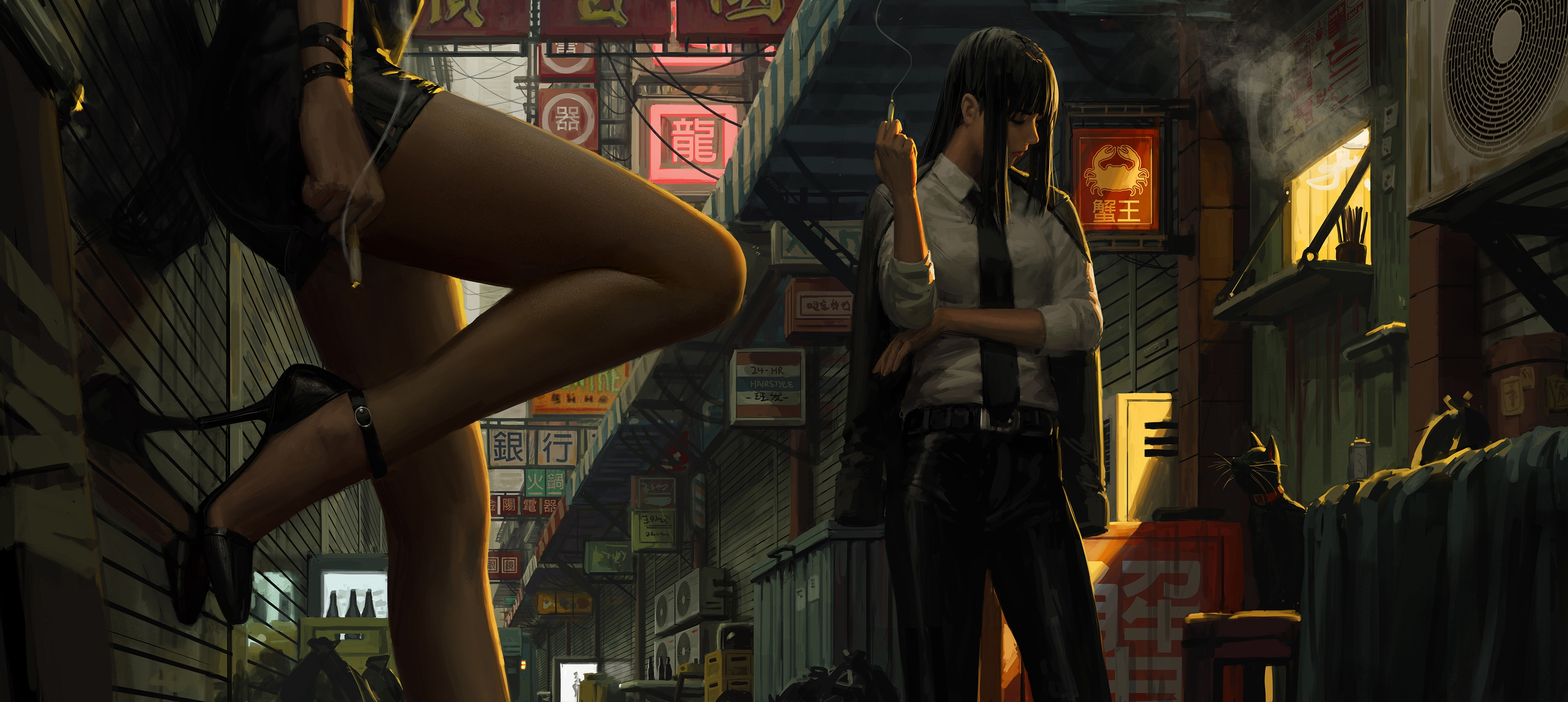 General 3794x1700 digital art women smoking Bad guys legs artwork GUWEIZ blunt bangs black hair black heels black minidress thighs 2D
