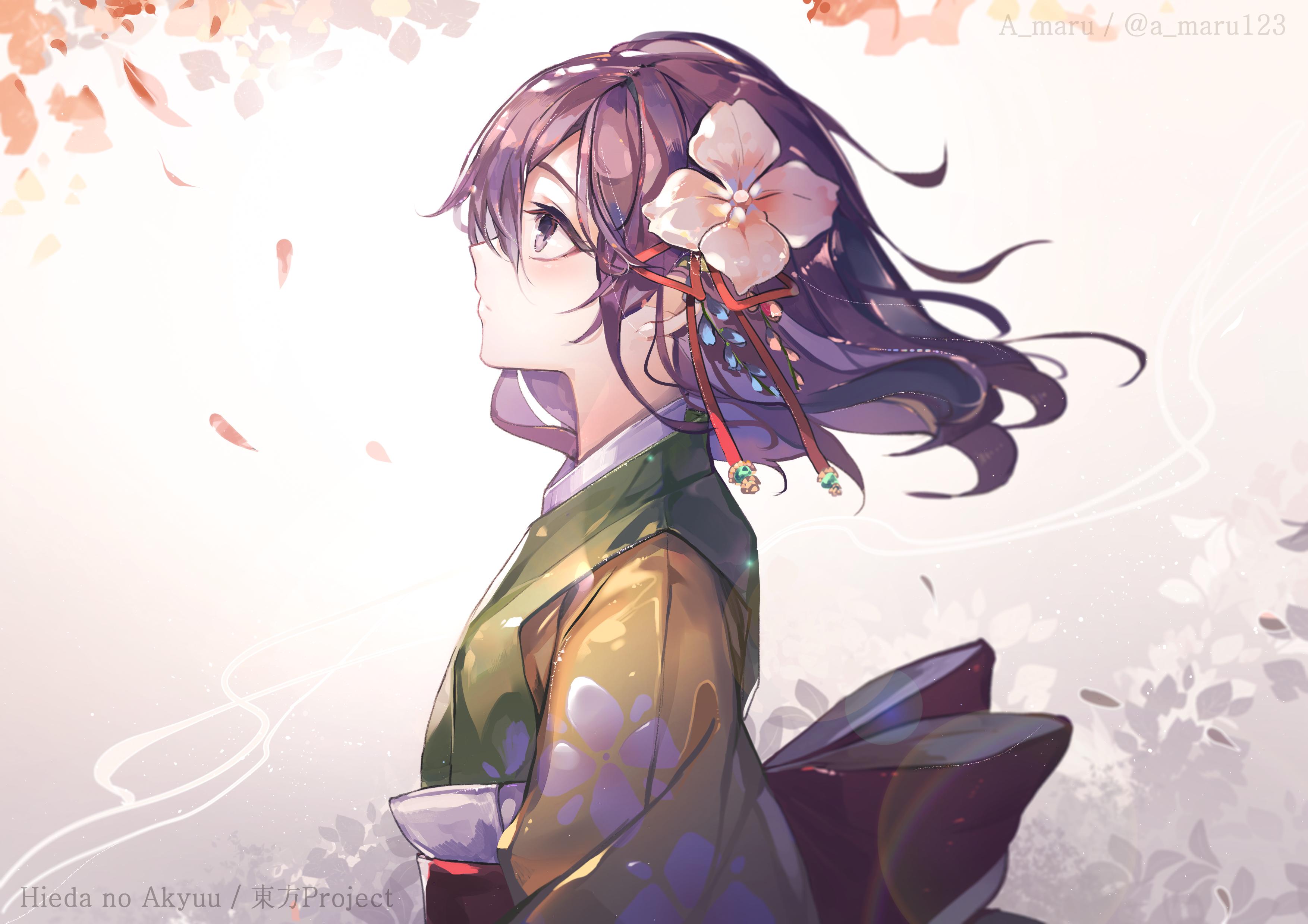 Anime 3508x2480 Touhou Hieda no Akyuu Japanese kimono flower bow purple hair purple eyes cherry blossom short hair anime girls